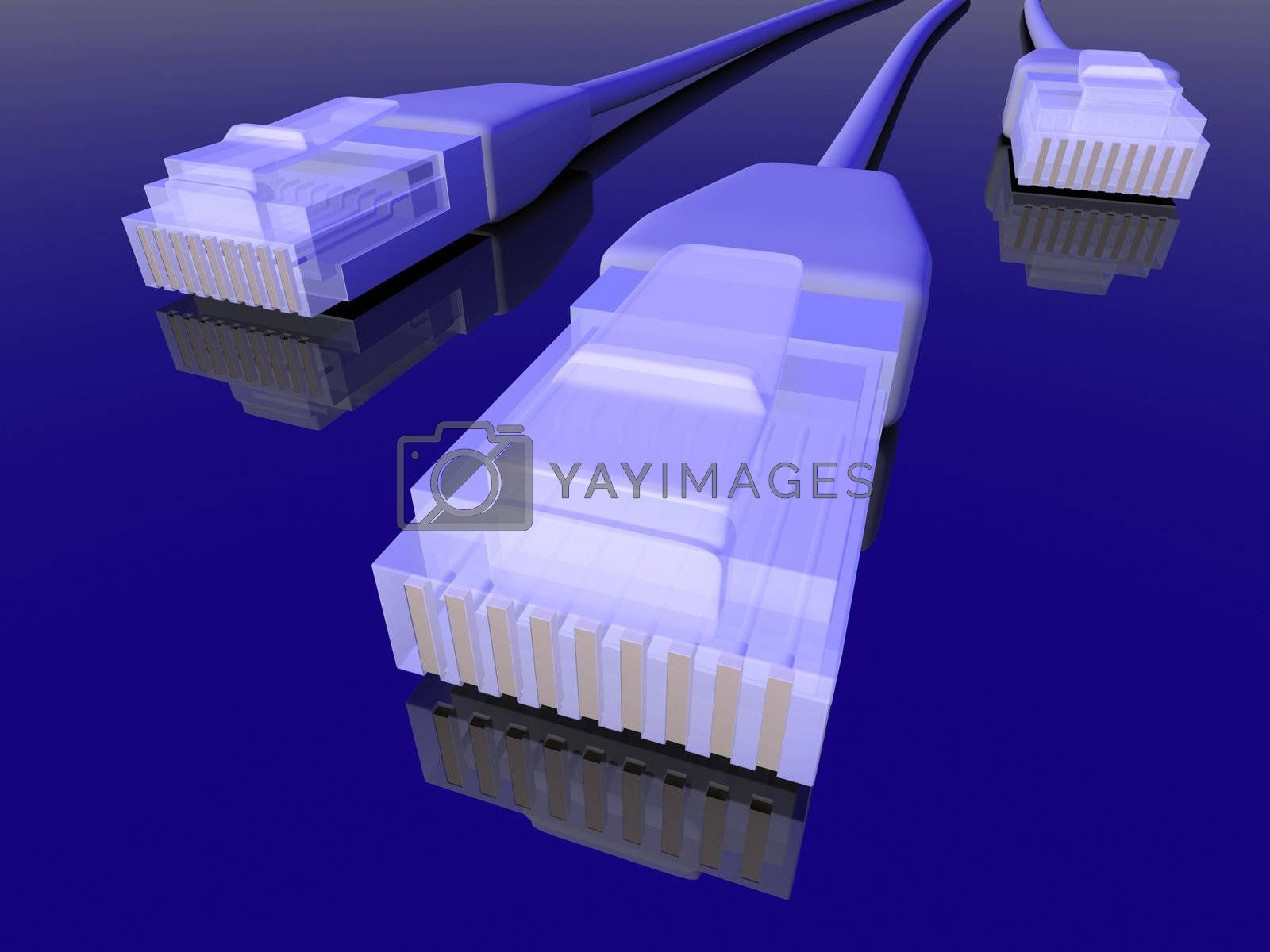 3d rendered LAN / Network Cable. Blue Environment.