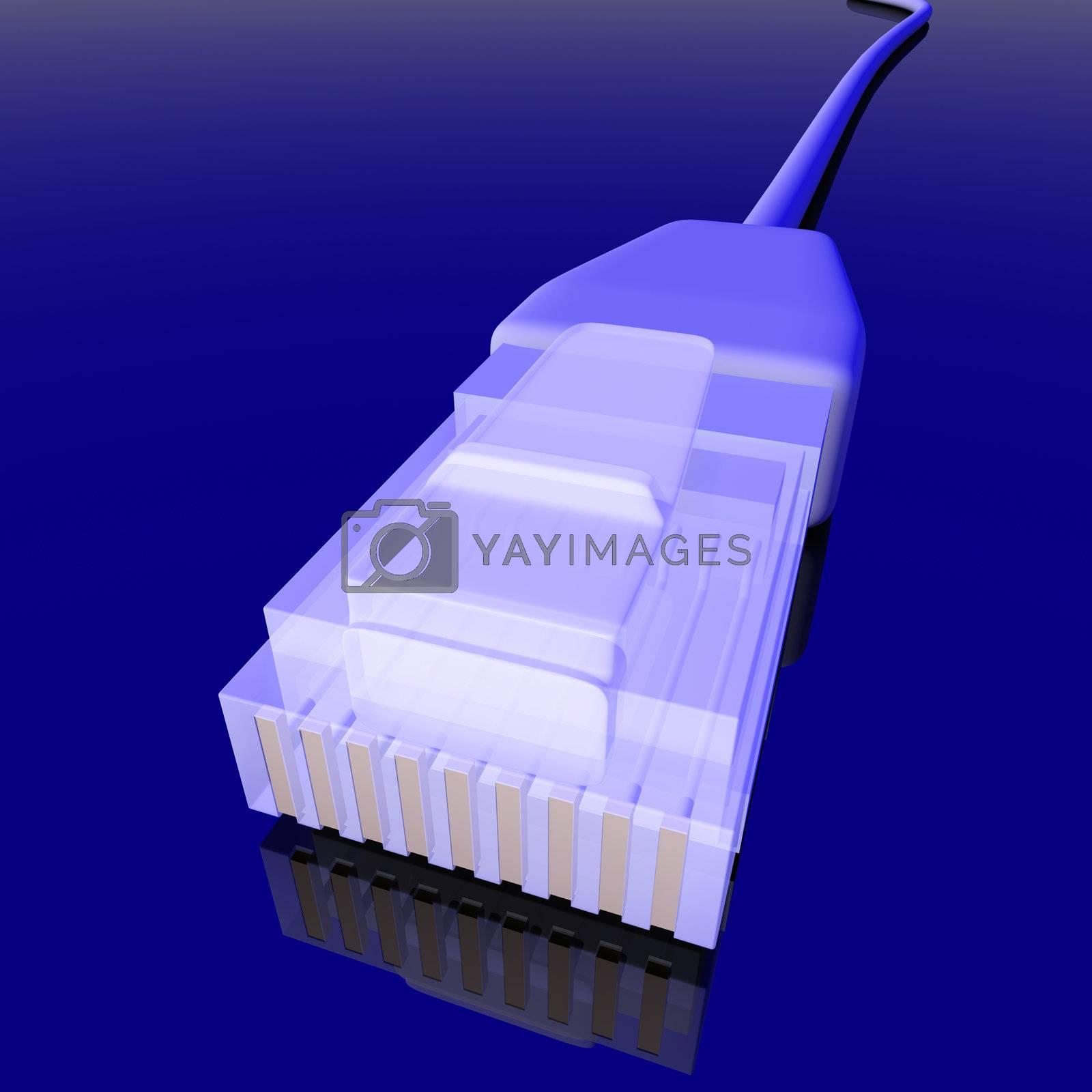 3d rendered LAN / Network Cable. Dark Environment. Intentional unbalanced lightning.