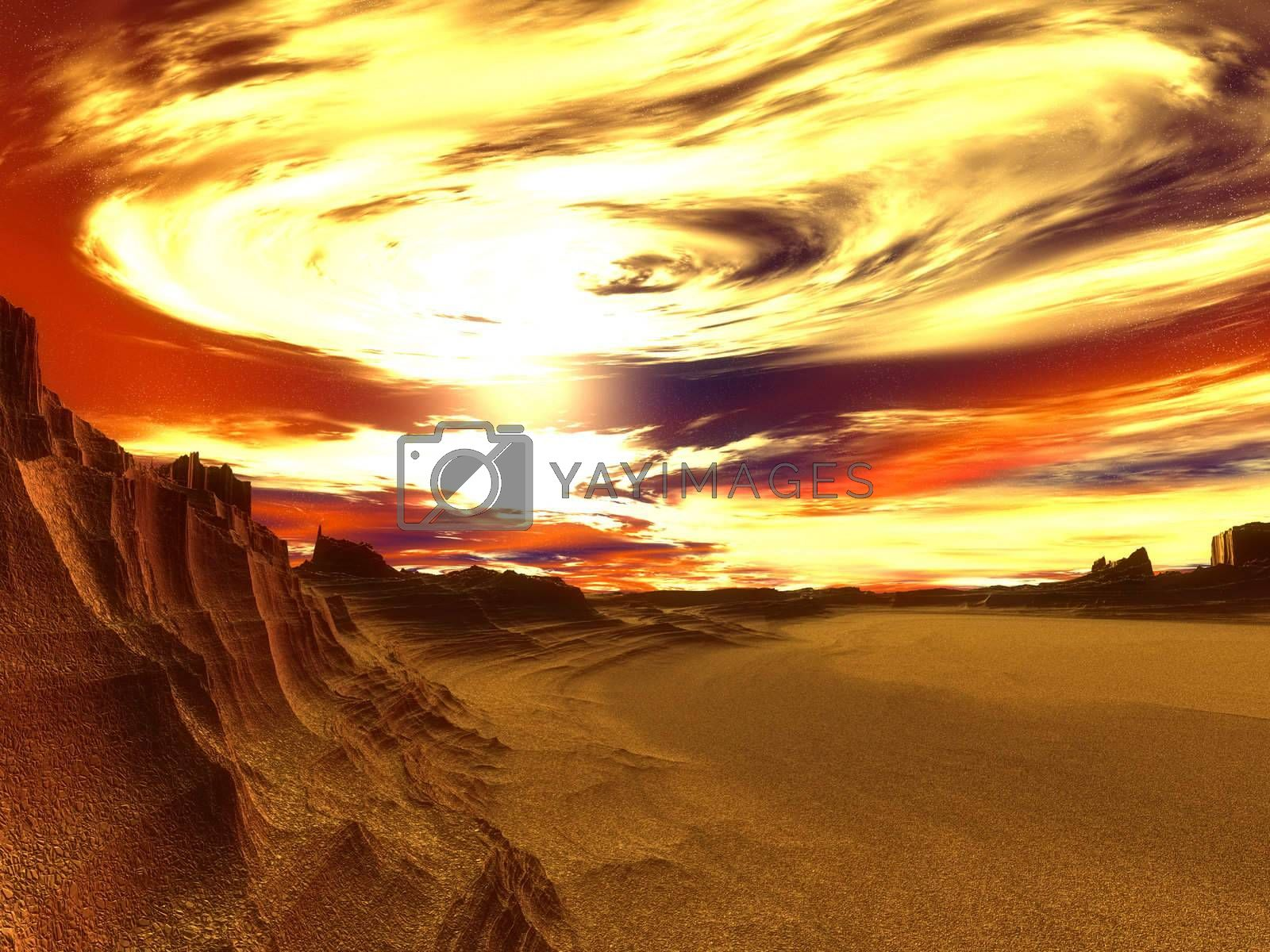 3d rendered image. Fantasy landscape of a dehydrated world in due of global warming.