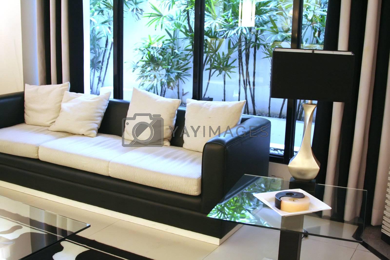 Living room waiting room with elegant modern black and white design