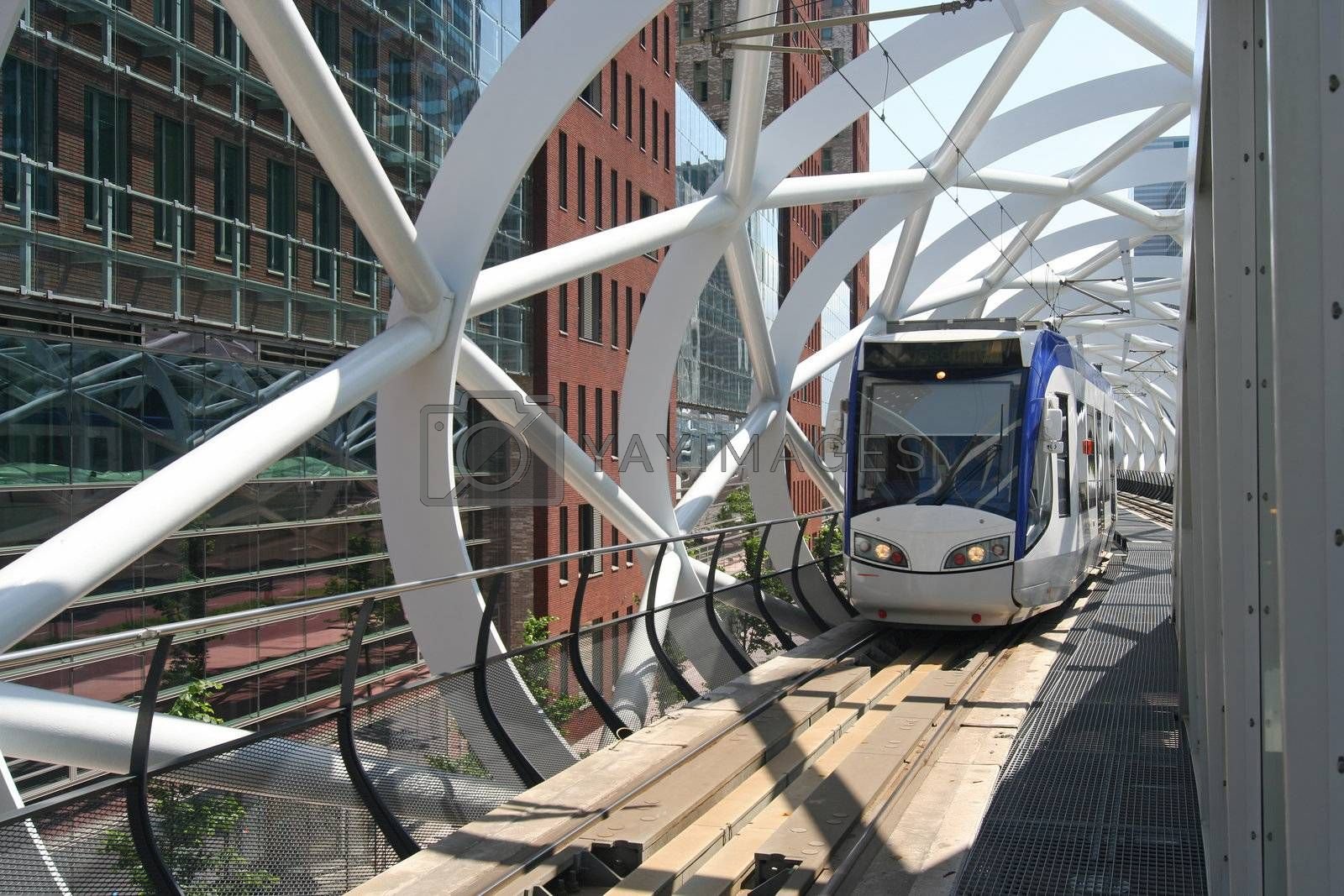 Futuristic elevated tram track of Randstad Rail in The Hague, Holland