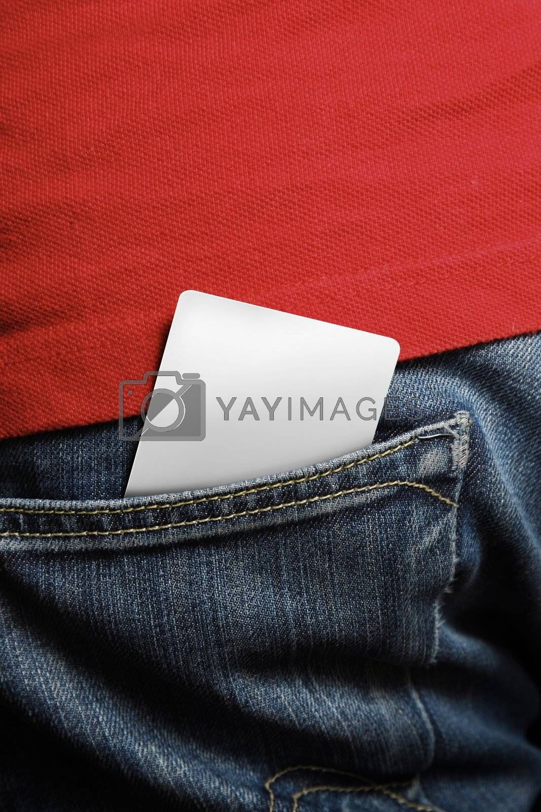 Blank card in a mans back pocket - insert your own design for any card design such as school, member, club, credit or debit cards
