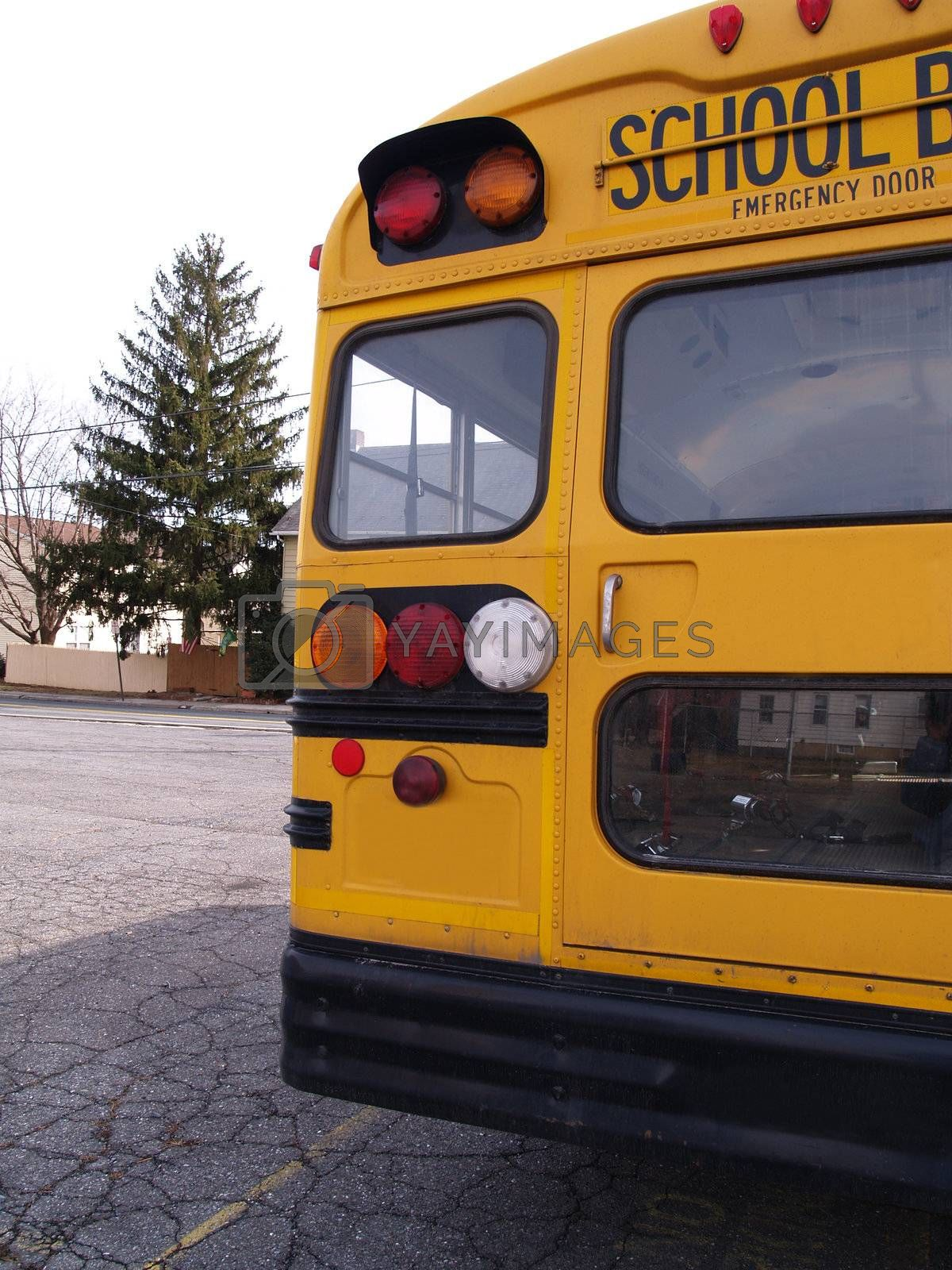 back of a yellow school bus