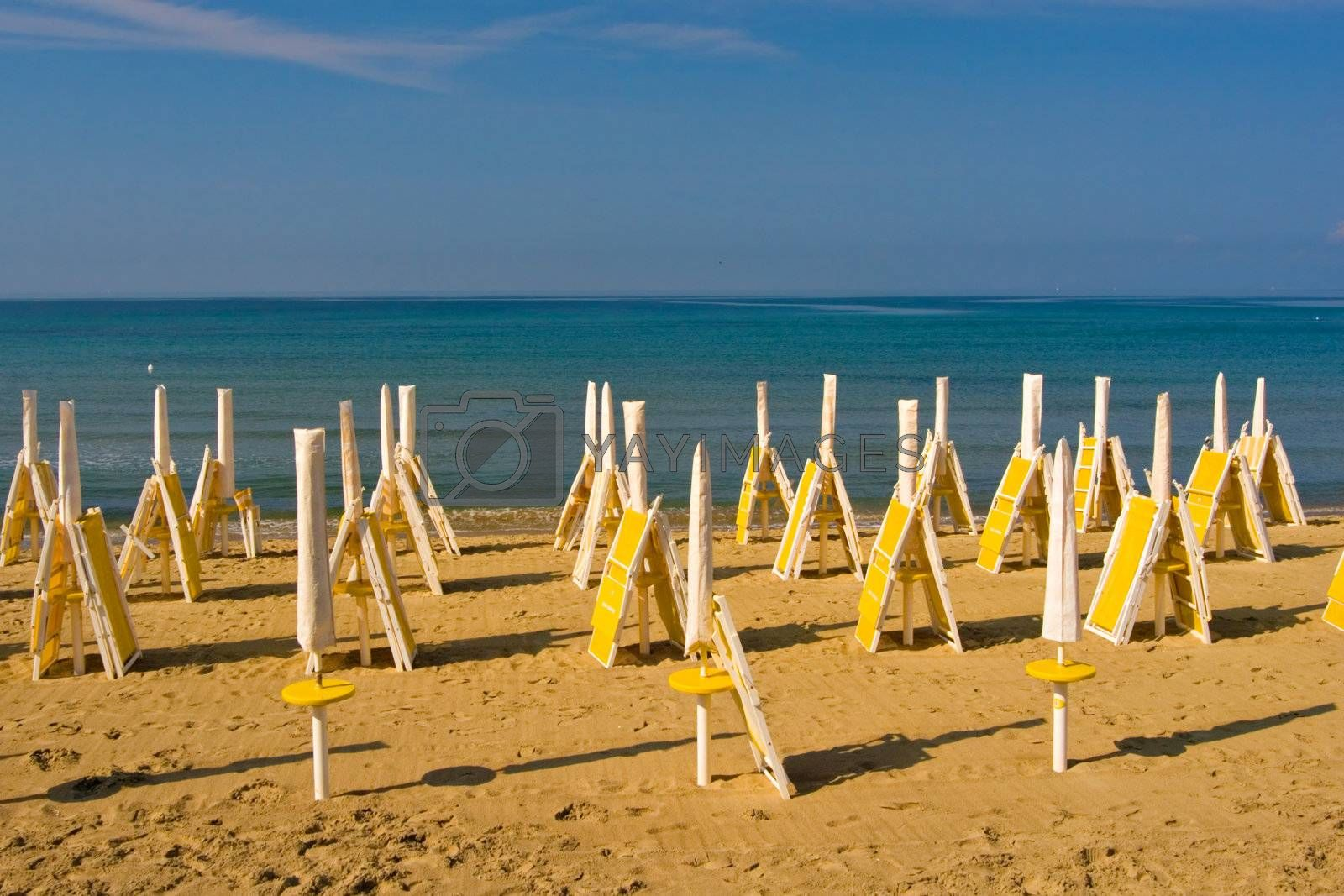 View of an empty beach in the Italian Riviera
