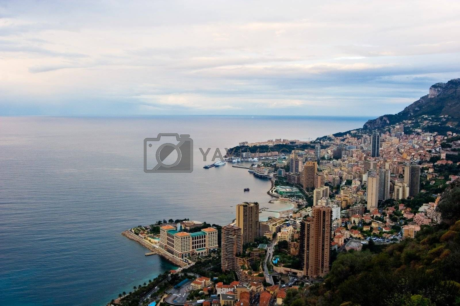 A view over Monaco skyline at Sunrise.