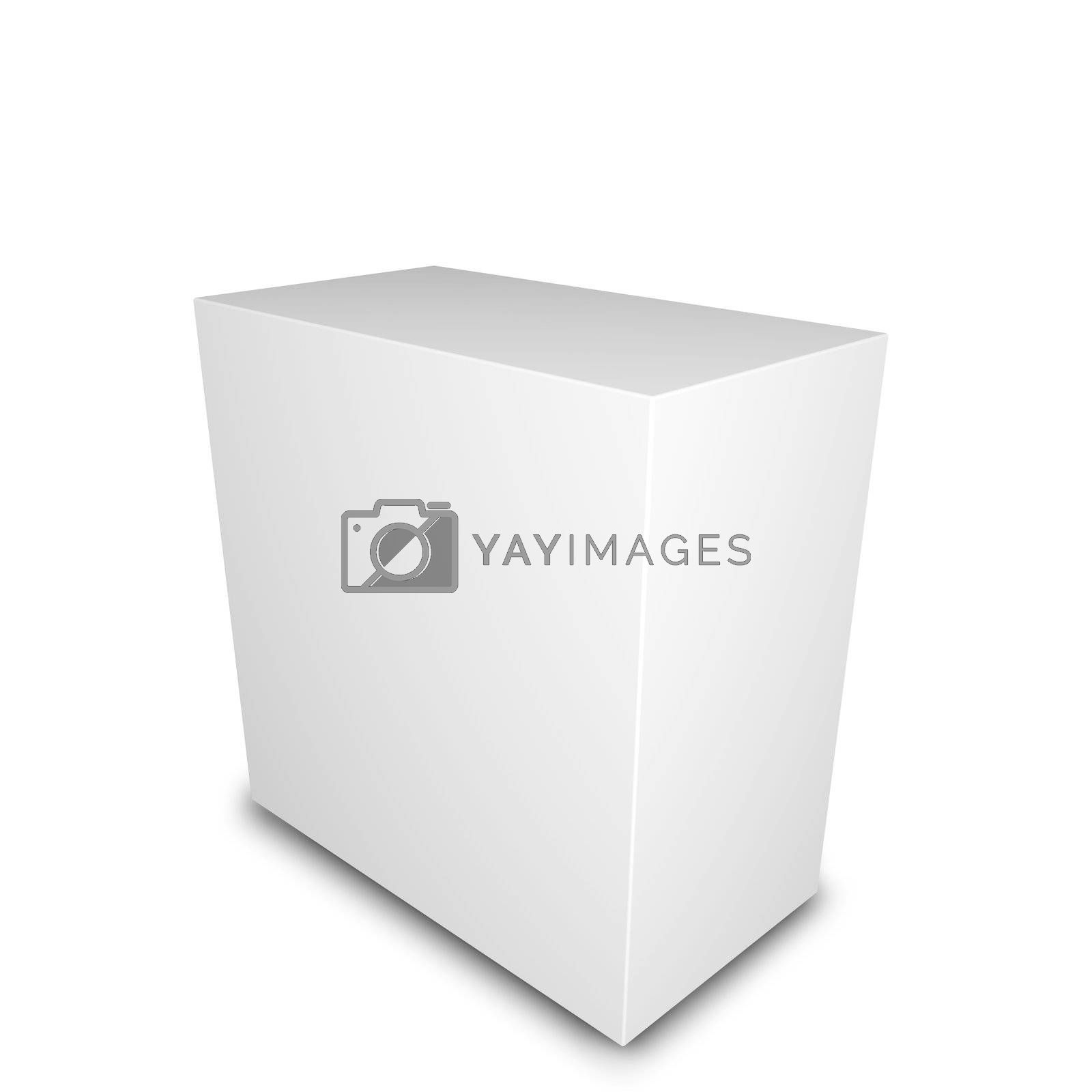 Blank product box. 3D render. white background.