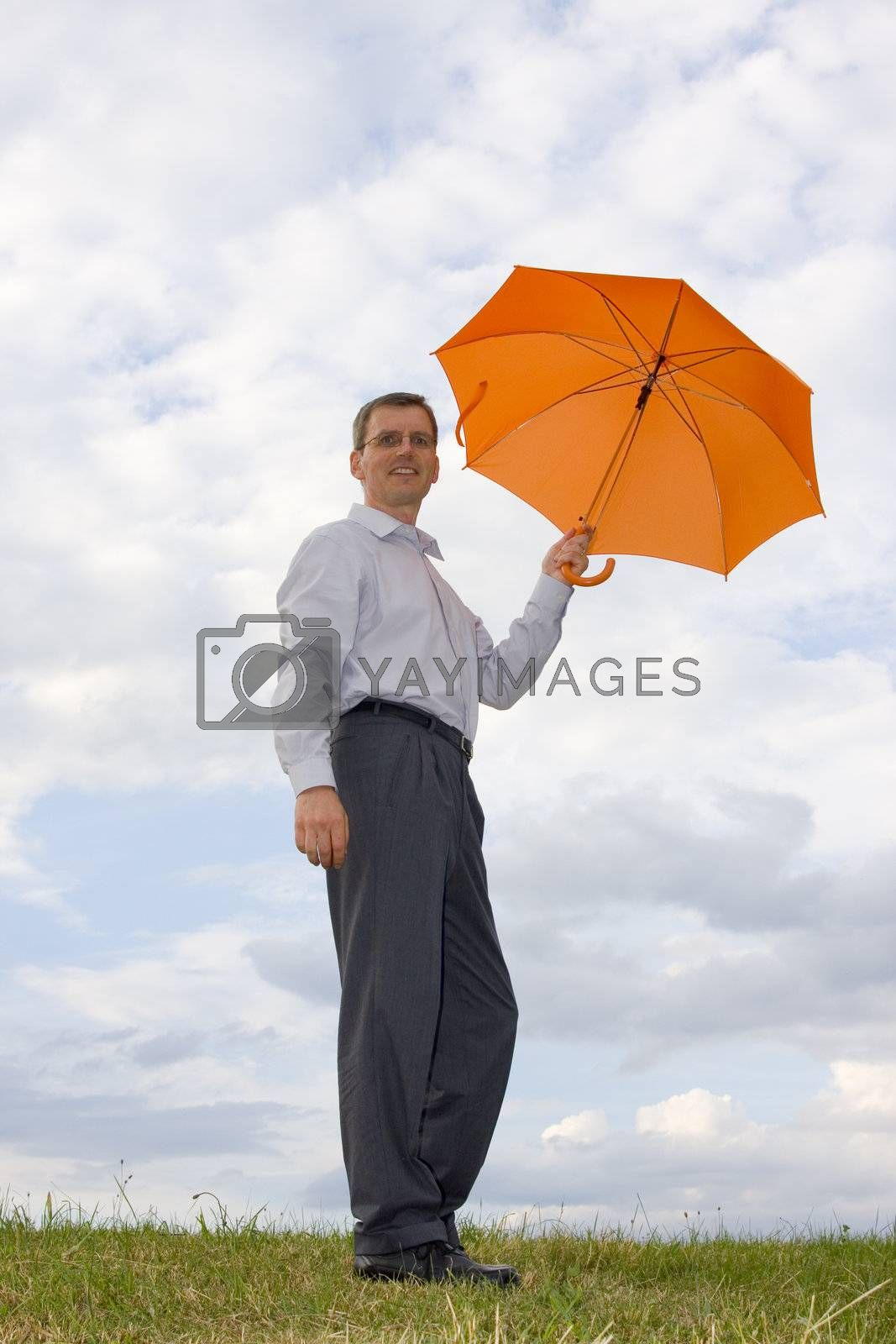Businessman with orange umbrella in a meadow