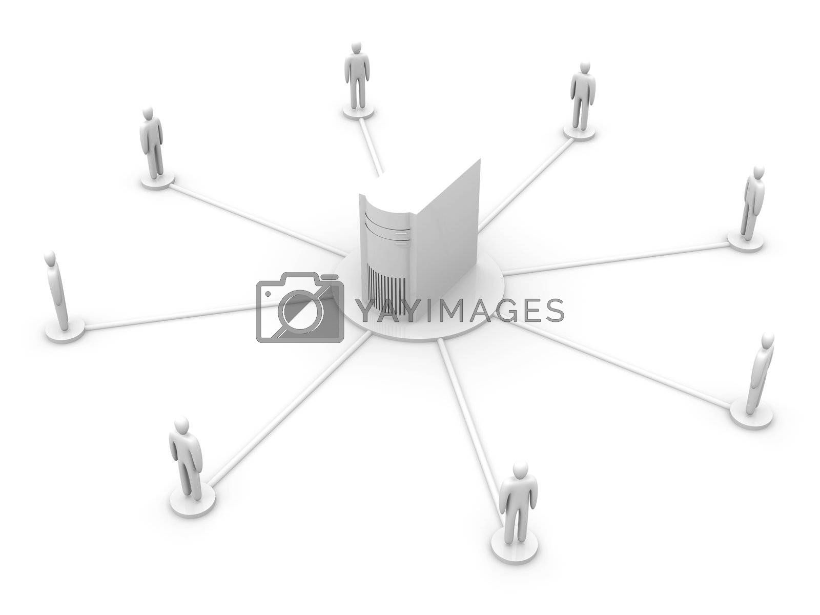 Connected People. 3D rendered illustration.