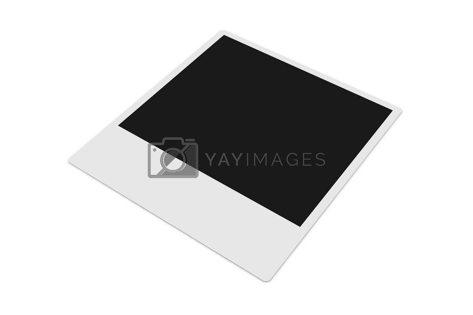 3D Illustration. Classic picture frame of instant image cameras.
