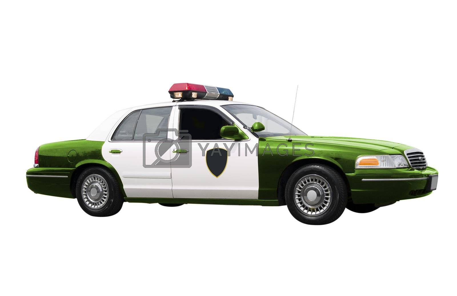 A green police car isolated on a white background. Green Police, environment concept.