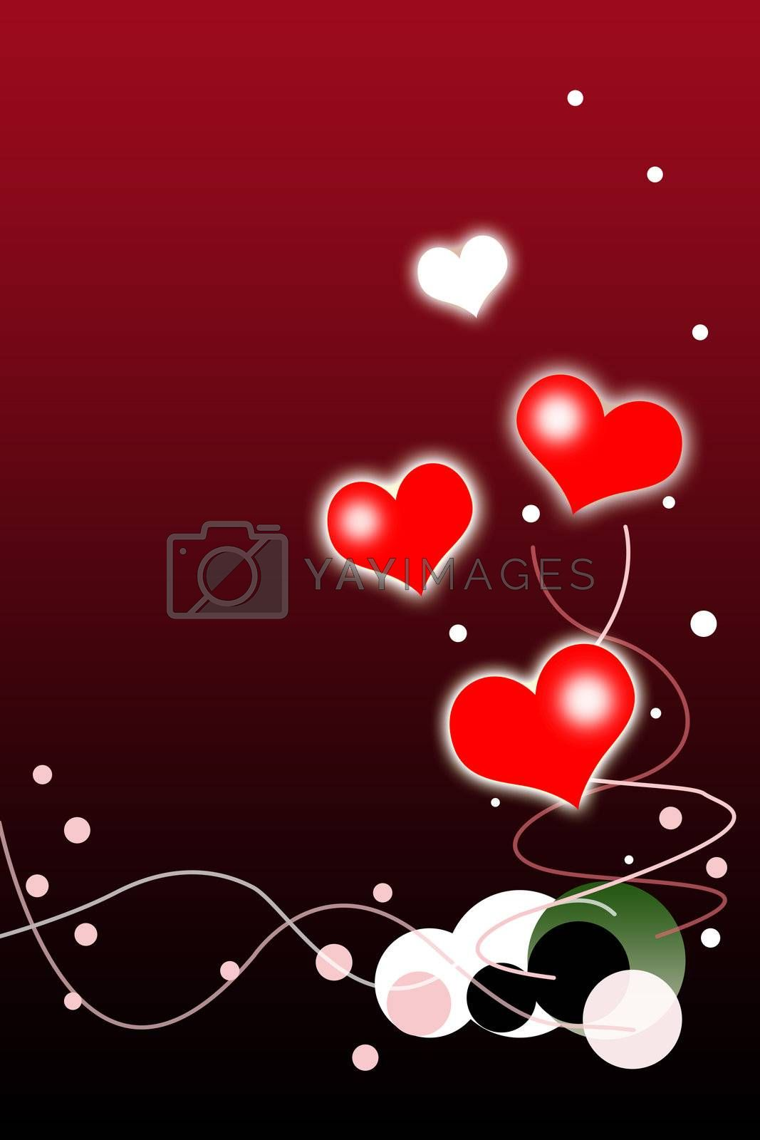Valentines Day Background with Red and White Hearts Illustration.