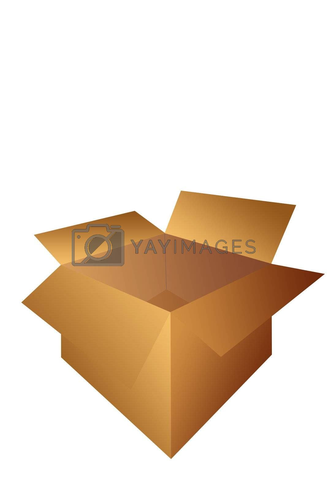 Open Cardboard Shipping Box Illustration Isolated on a White Background.