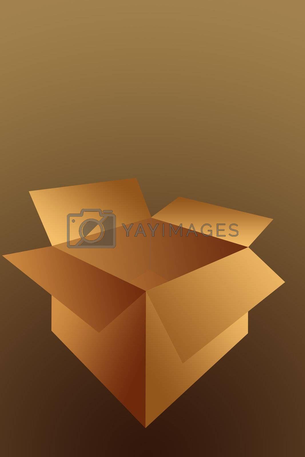 Open  Empty Cardboard Shipping Box Illustration Isolated on a Brown Background.