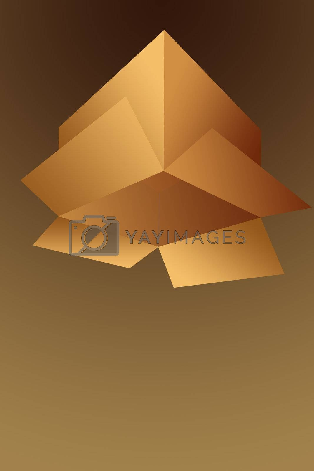 Open Upside Down Empty Cardboard Shipping Box Illustration Isolated on a Brown Background.