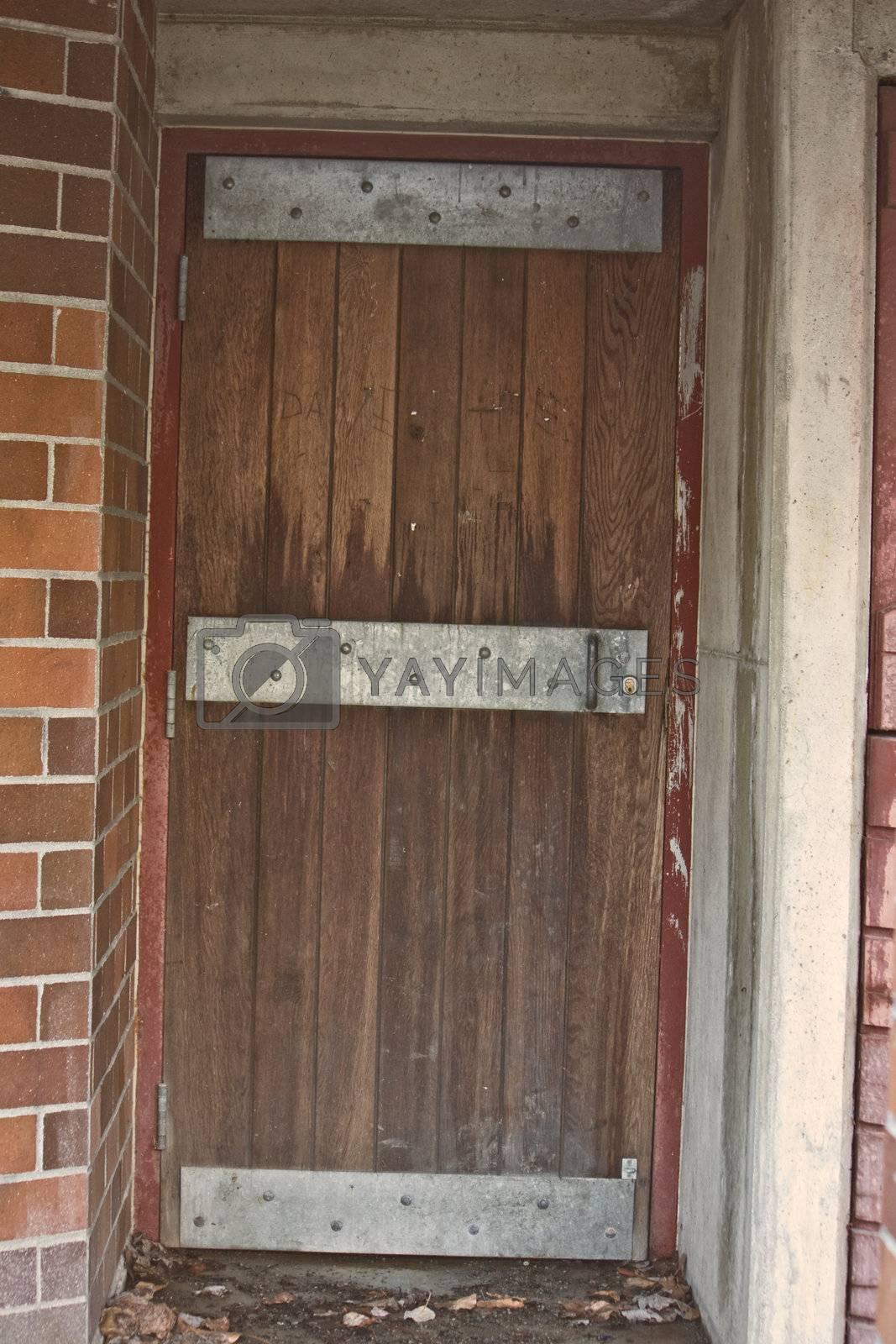Old Looking Steel Reinforced Door with Wood Boards
