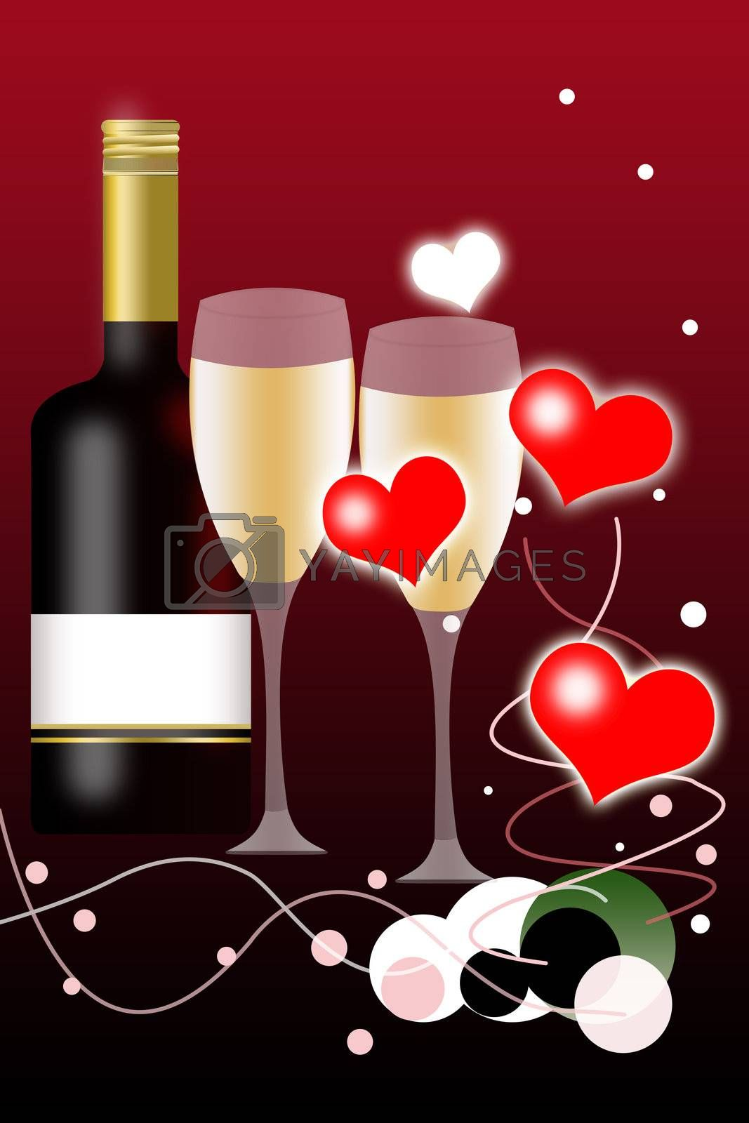 Valentines Day Background and Wine Bottle with Blank Label and two Glasses