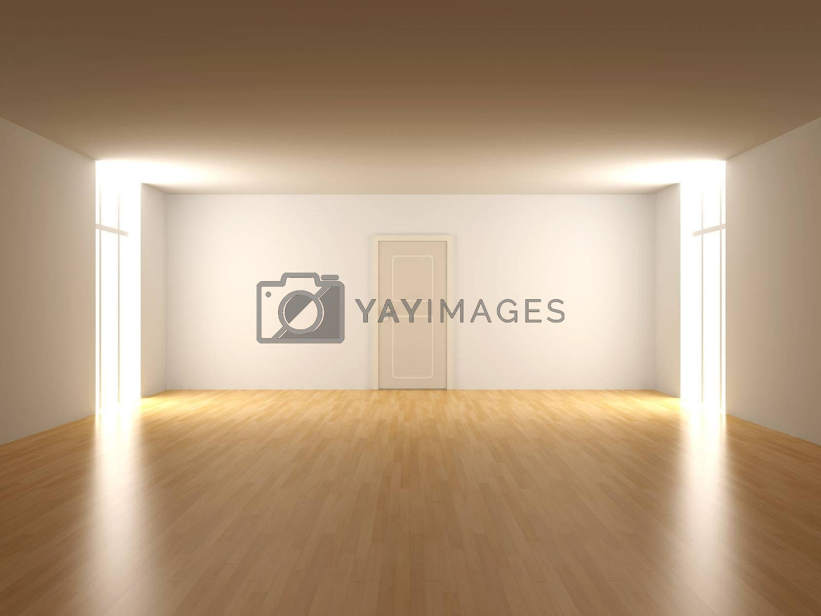 3D rendered Interior. An empty room.