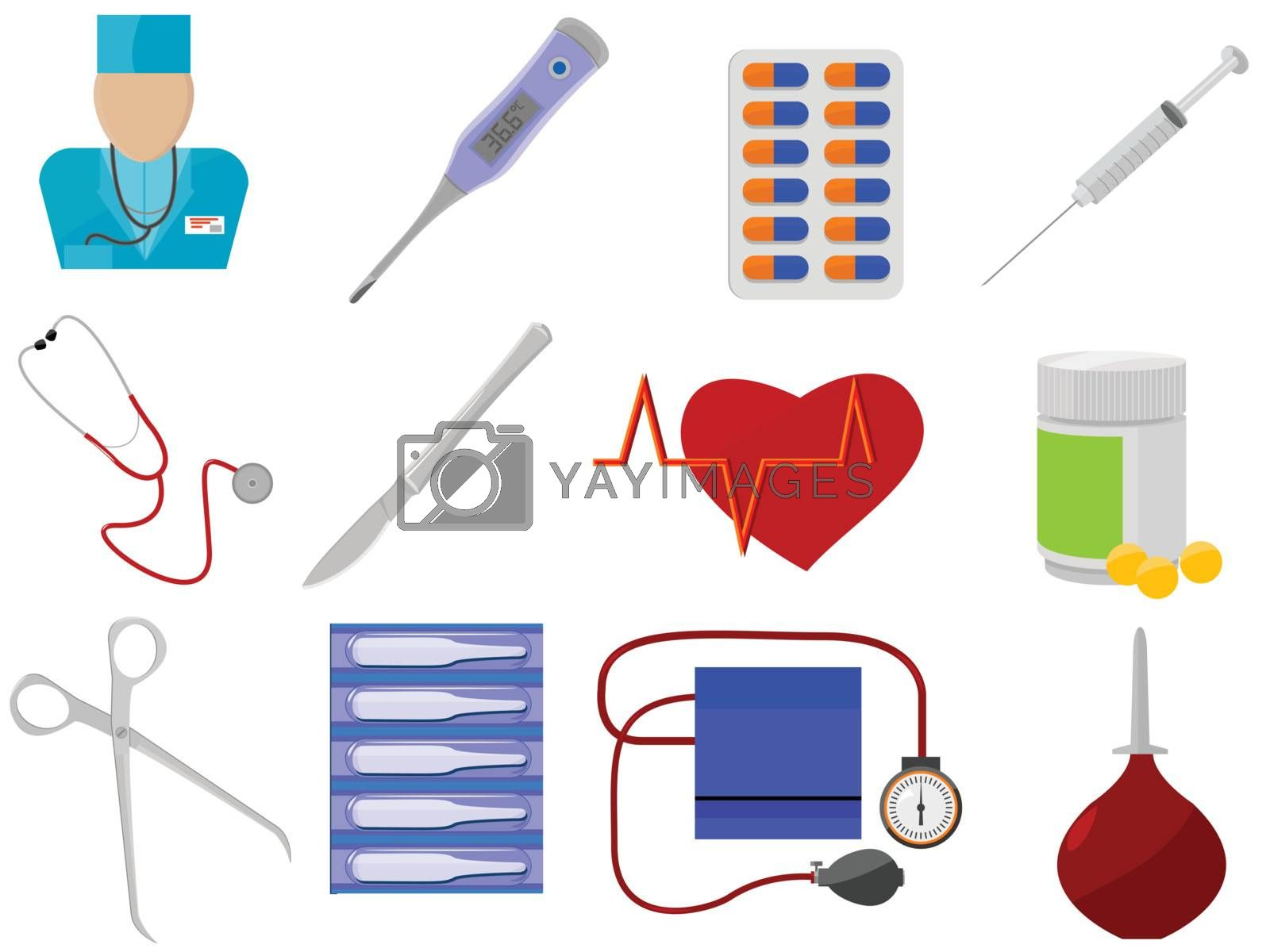 Icons for web design - medicine and health in a vector