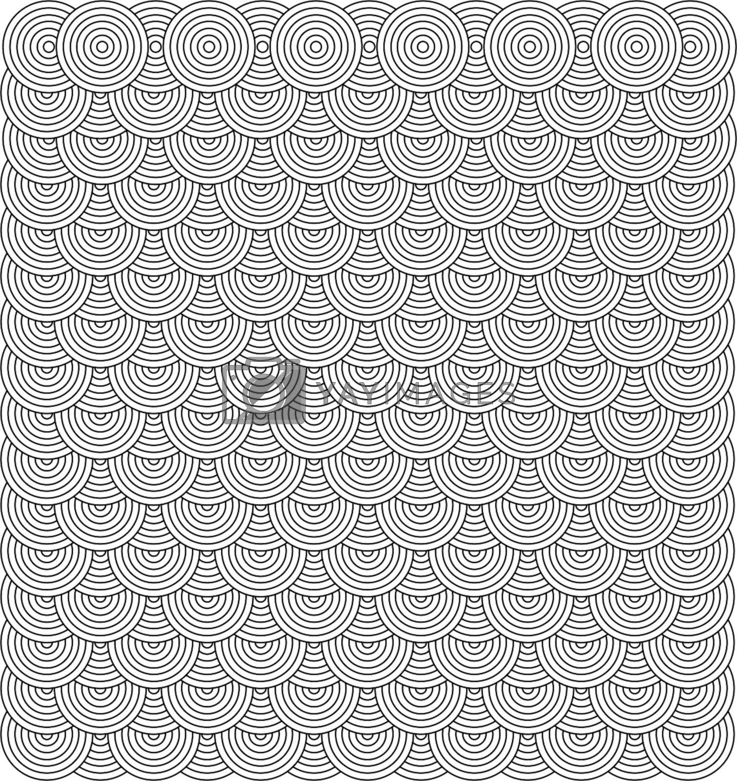 Seamless repeating seventies inspired wallpaper design in black and white