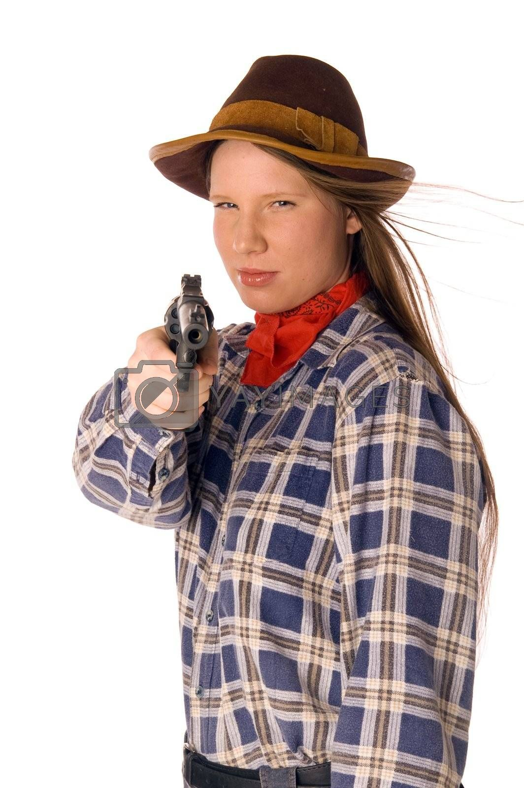 Smiling cowgirl with gun aim at someone by lilsla