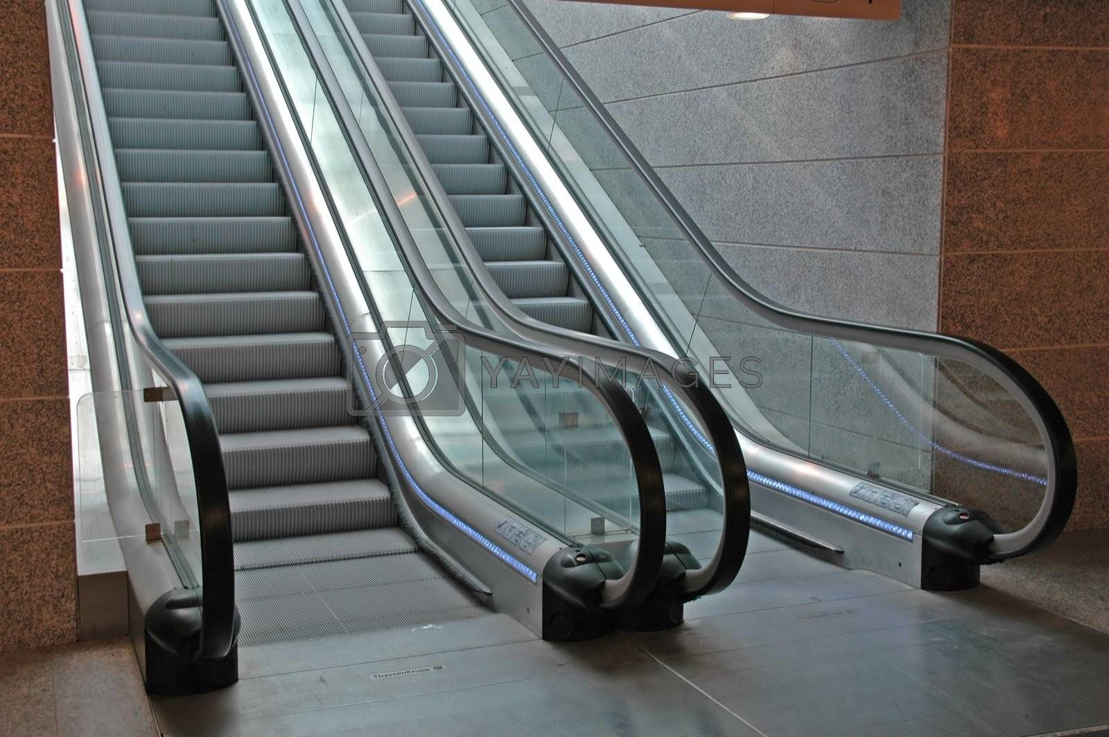 Modern Airport Interior with escalators by raalves