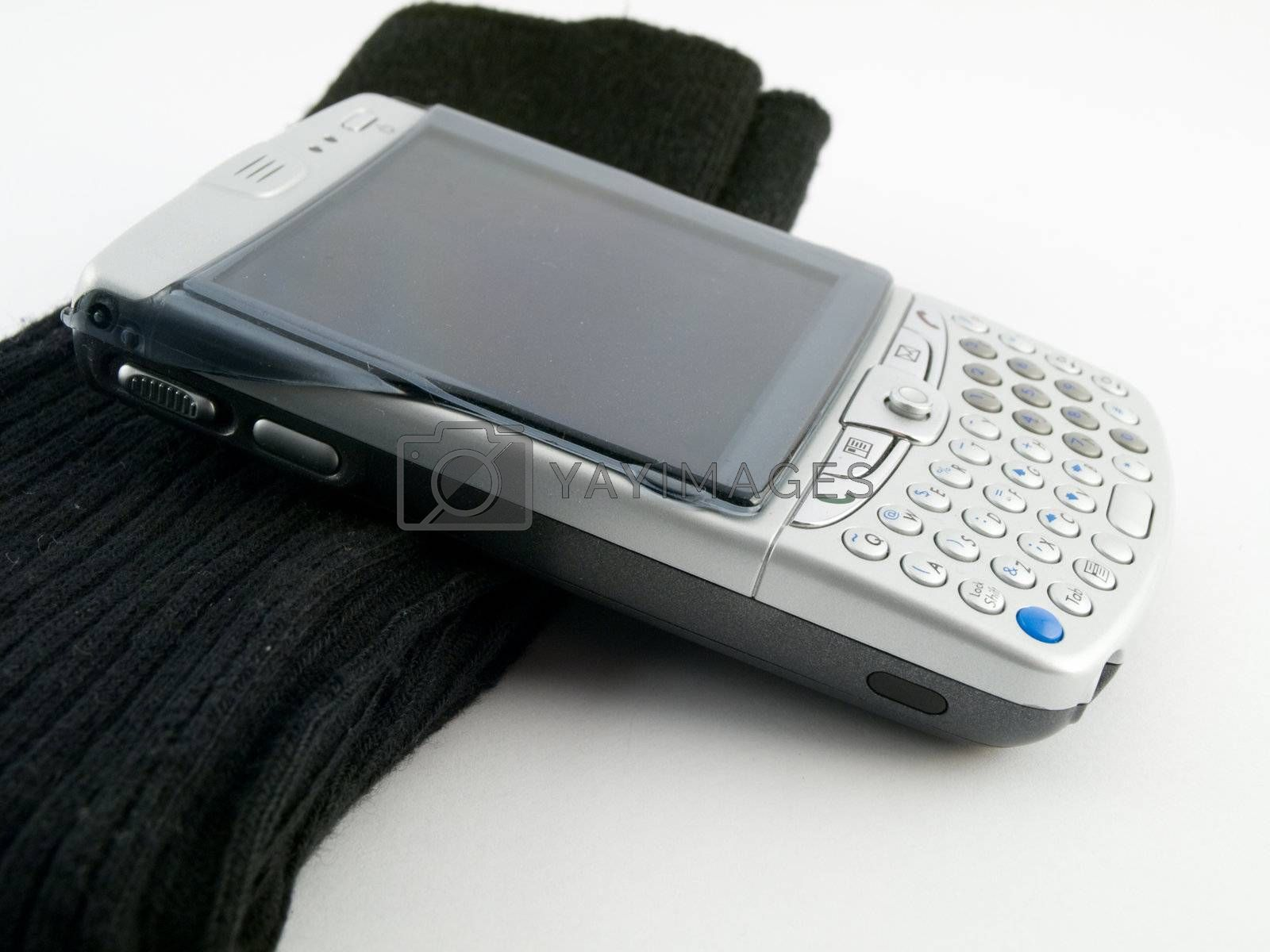 PDA Mobile Cell Phone and Black Work Socks