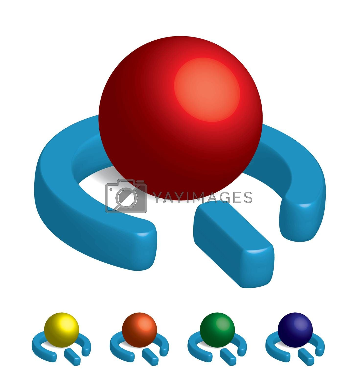 A 3D vector power symbol orb in a variety of colors.