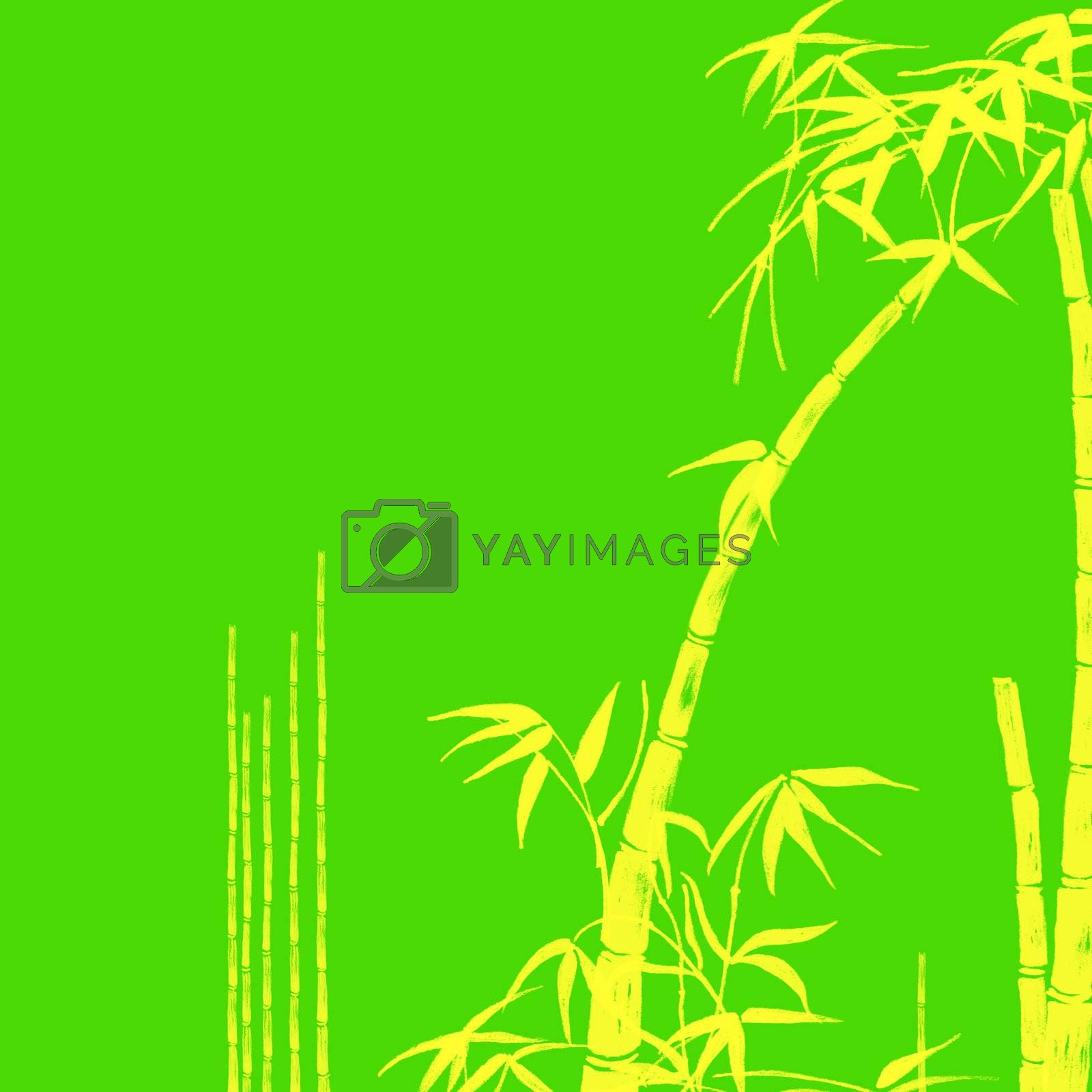 Yellow Bamboo Tropical Design Illustration on Green Background