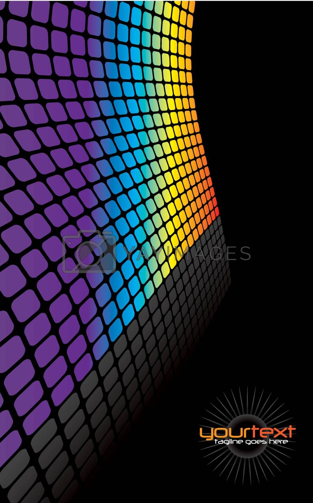 A rainbow colored wall vector illustration with reflections and copyspace.