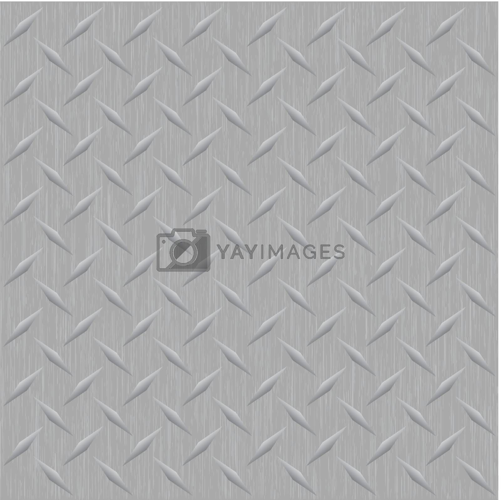 A silver metallic diamond plate vector image that tiles seamlessly in any direction as a pattern.