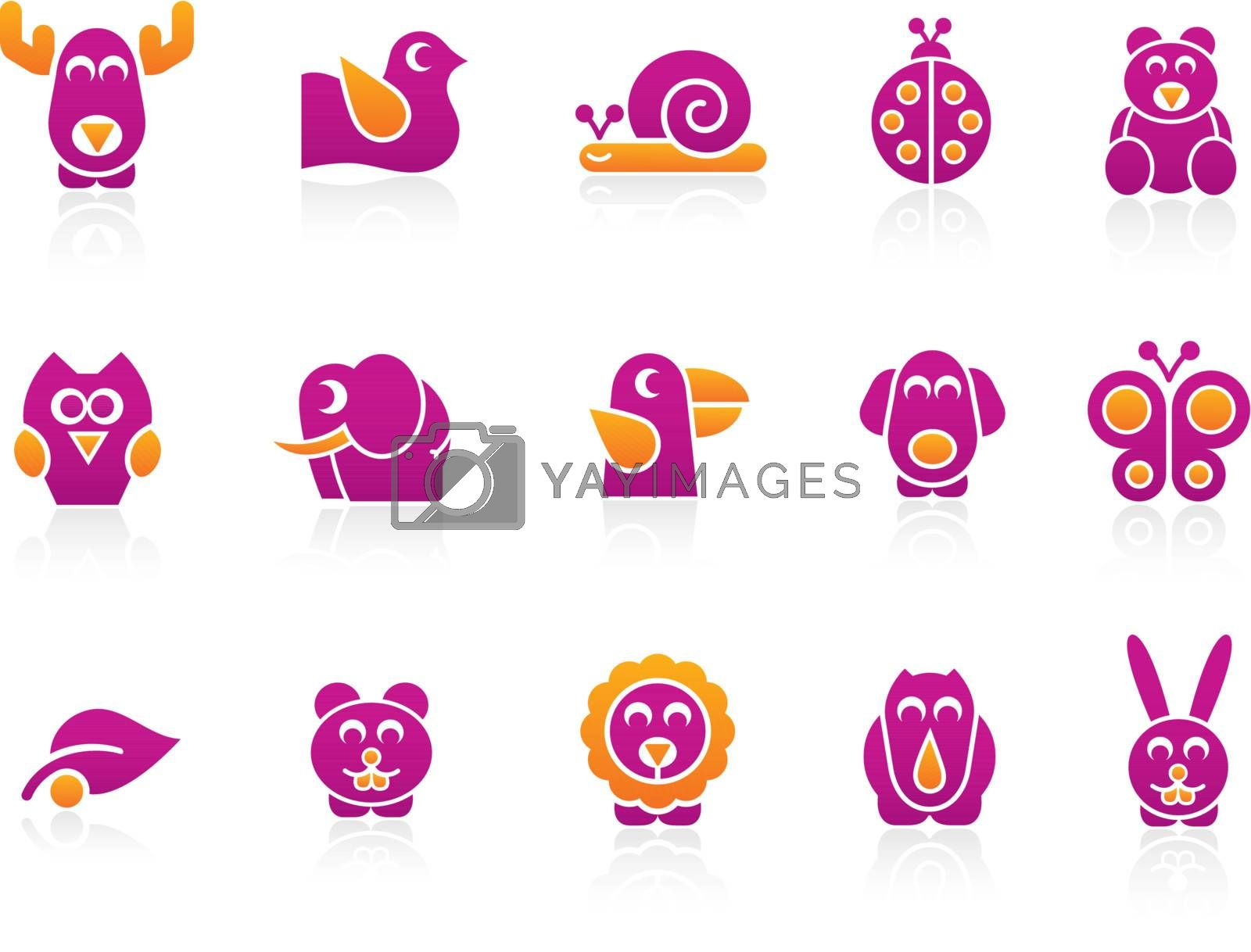 Set of stylized animals to use in your, ecologic, kids products or travel projects. Easy to change colors. -eps8 file format-