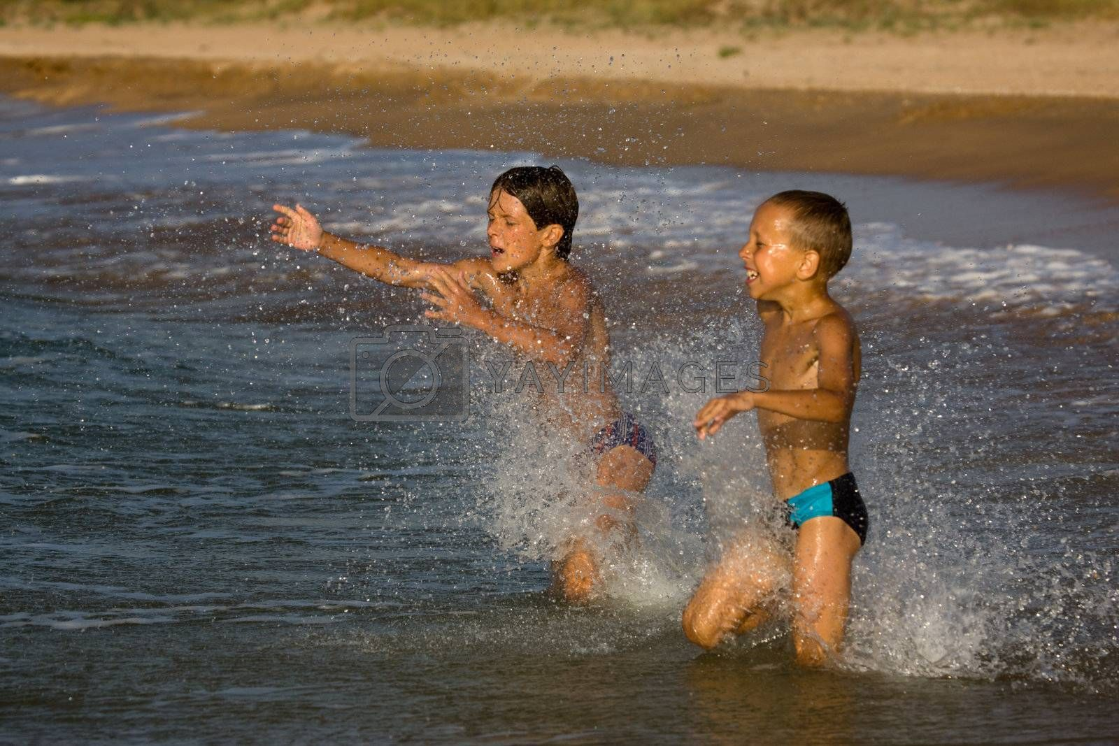 people series: two boy are play the game with water