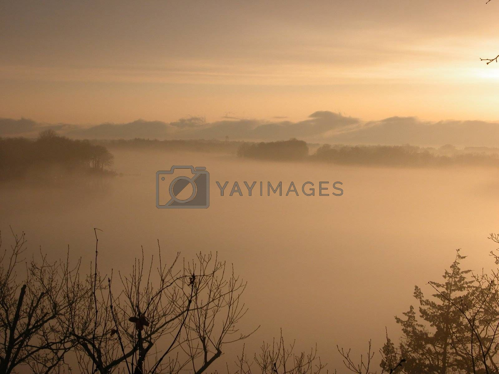 Sunset on Foggy Water by ewilliamsdesign