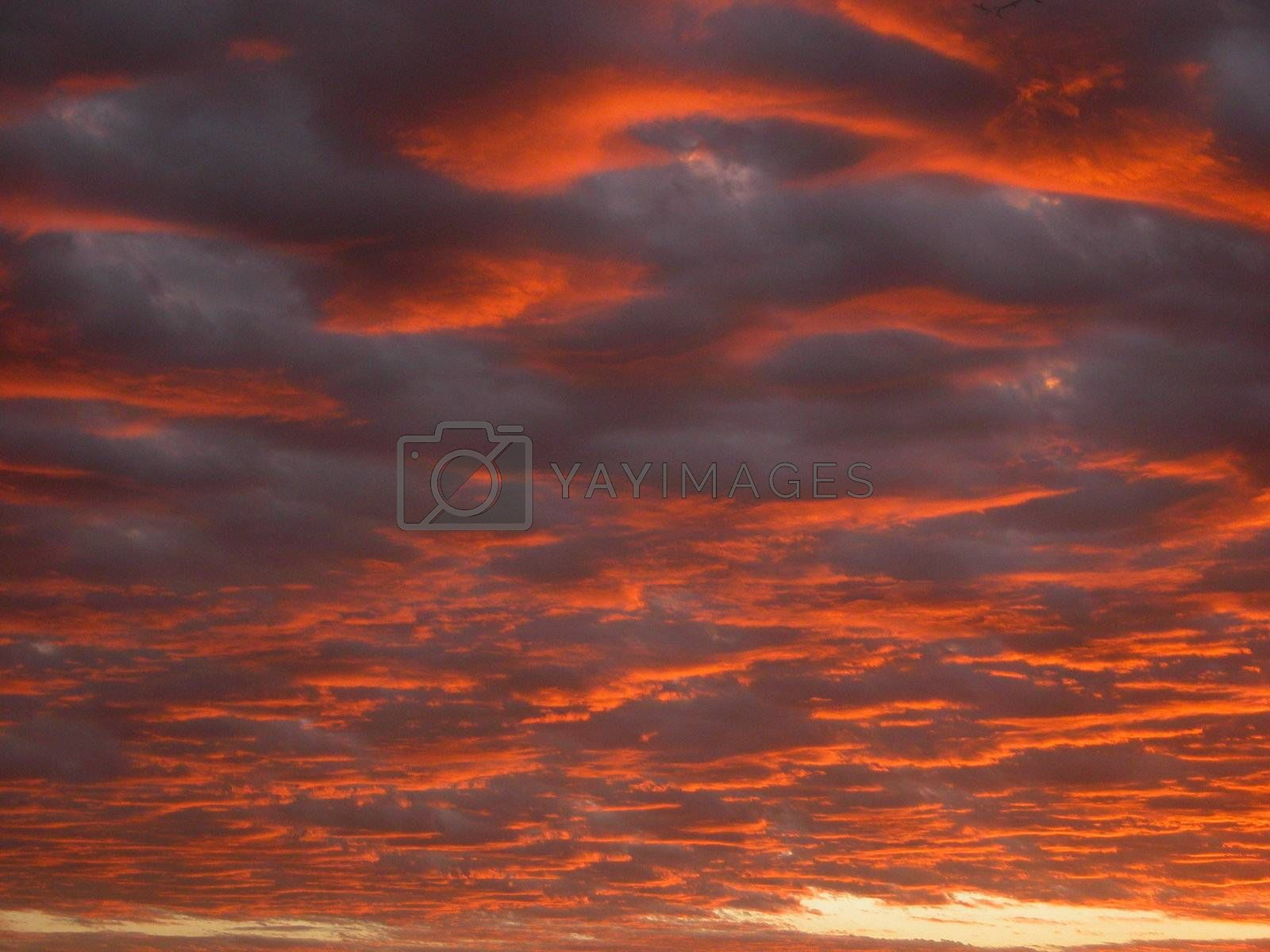 Un-retouched clouds in fiery sky
