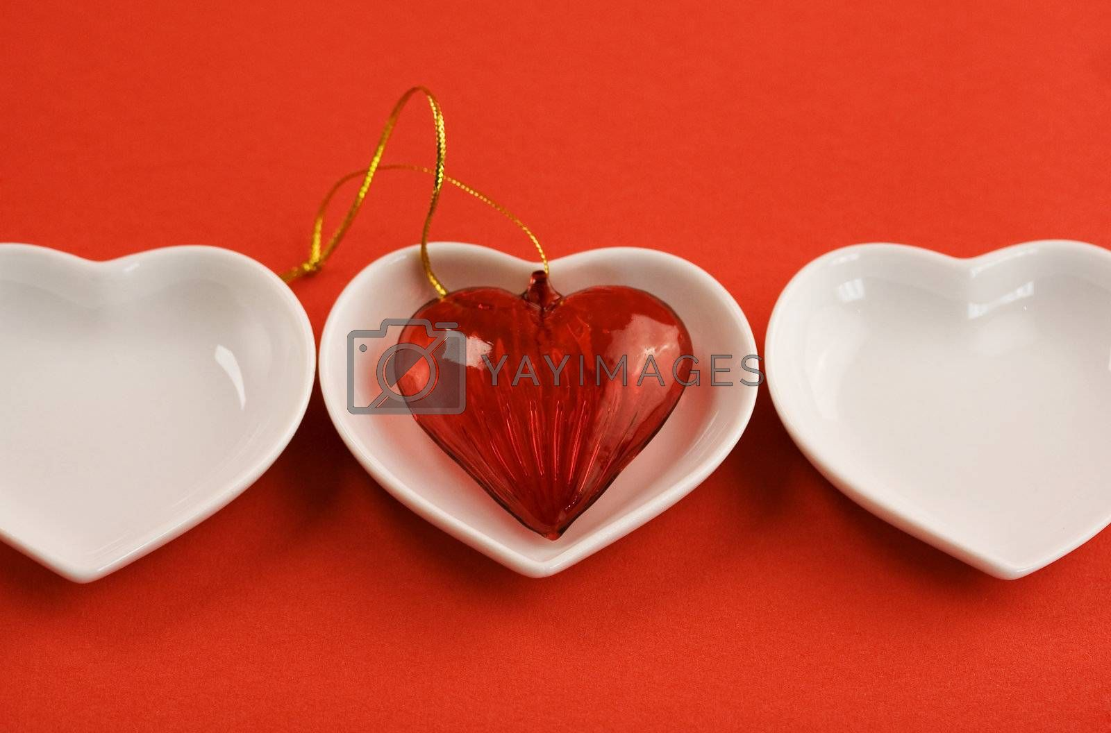Red heart and heart shaped plates