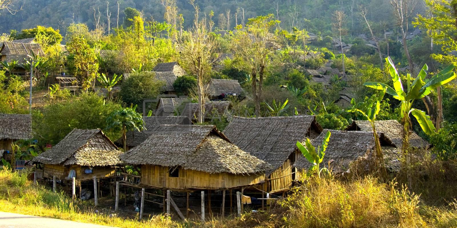 wooden jungle village set in the Thai-Burma border thailand