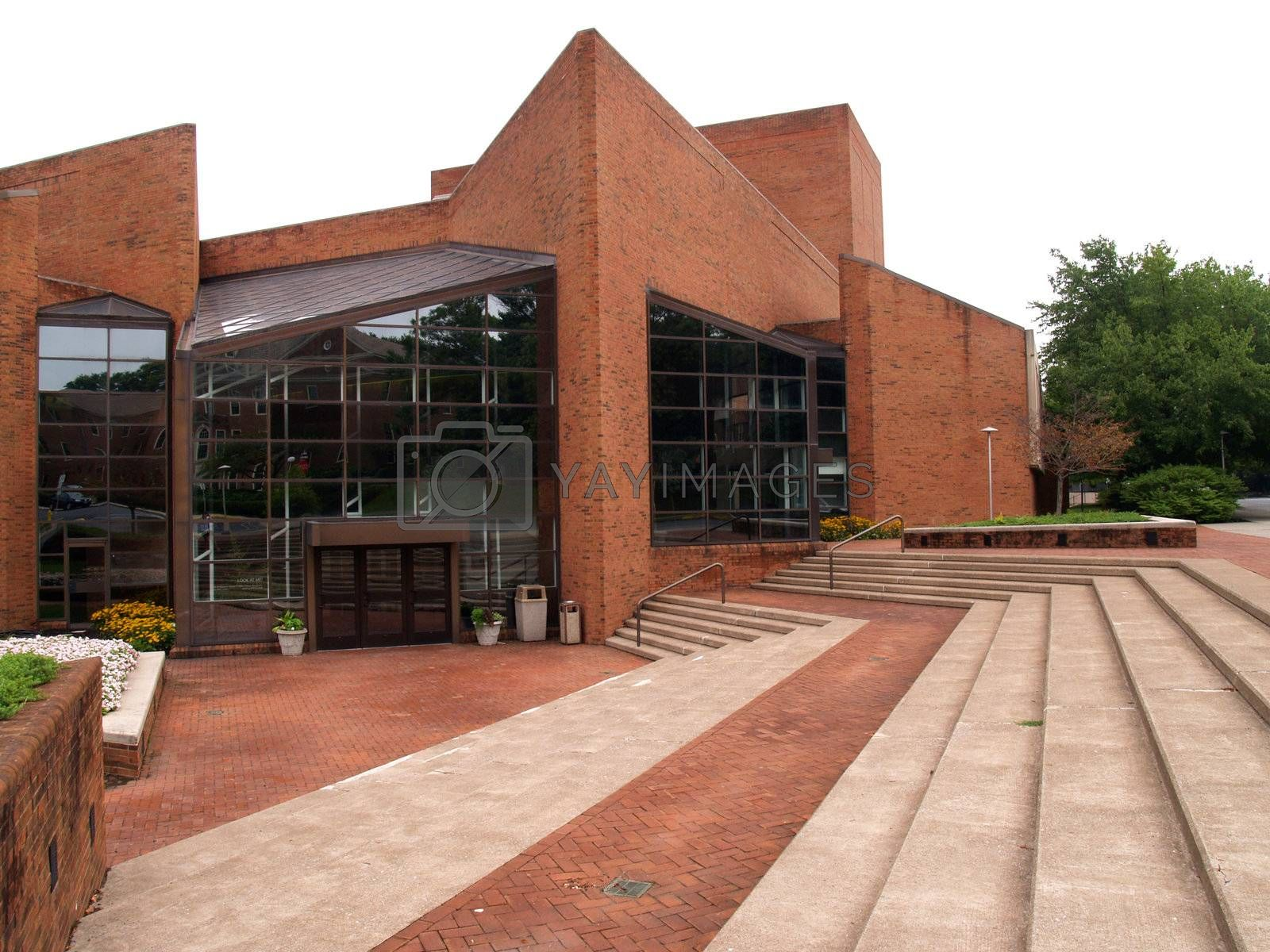 modern red brick building with many angles