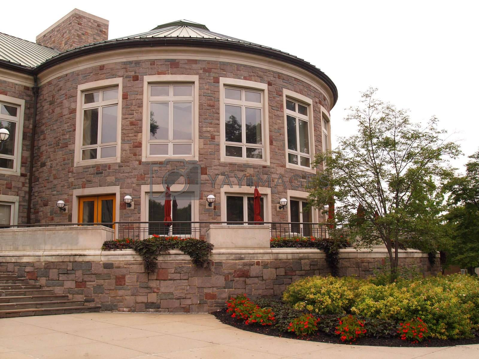 rounded stone building on Lafayette College campus In Easton, Pennsylvania