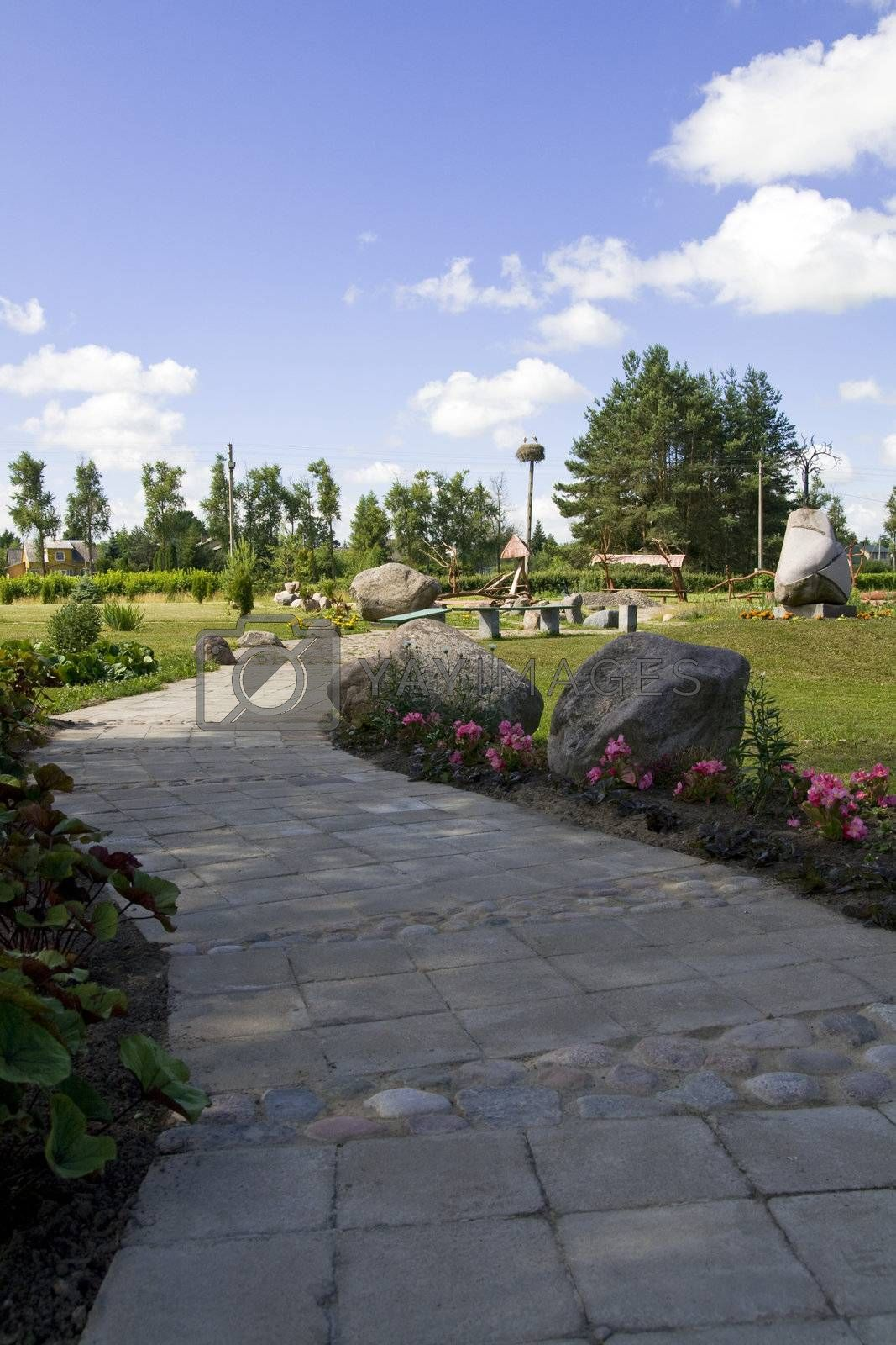 Footpath in the stones park