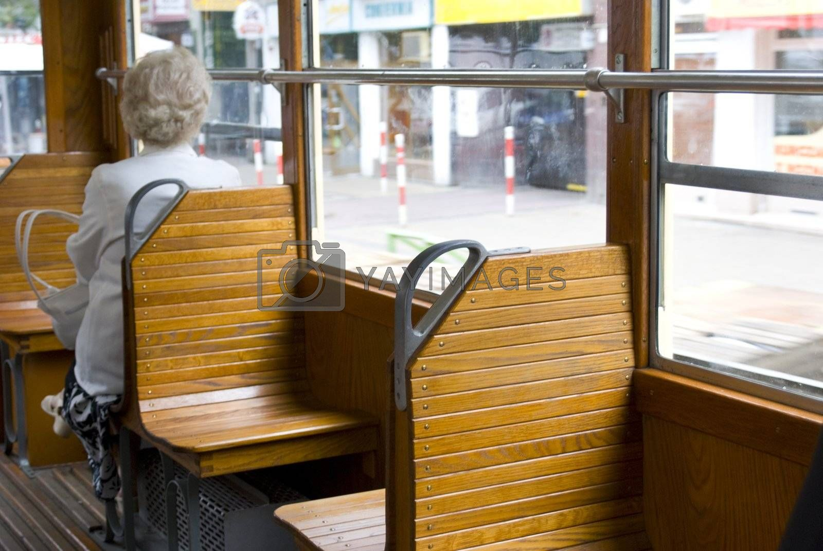 old tramcar travel with memory