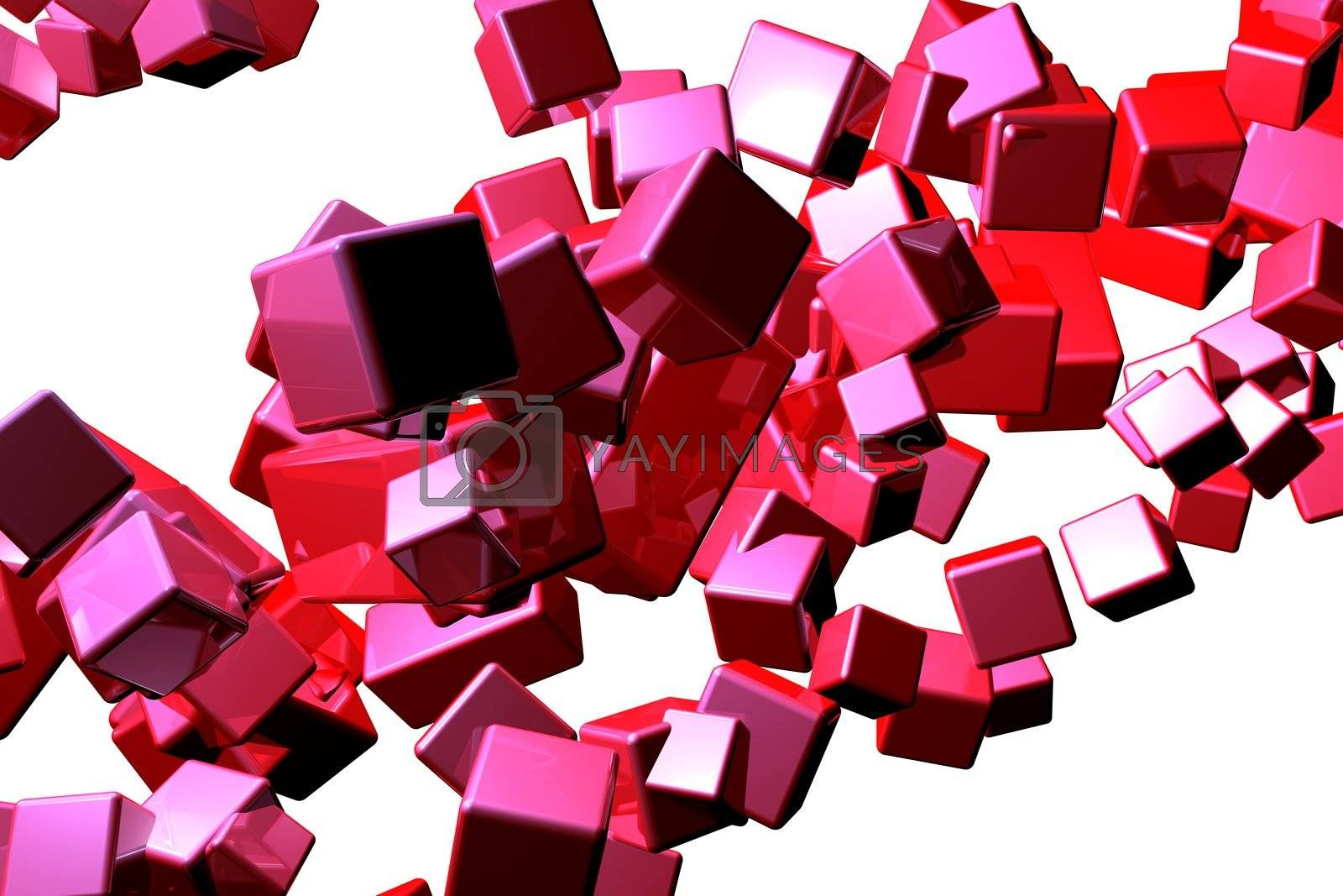 3D rendered abstract background. Isolated on white.