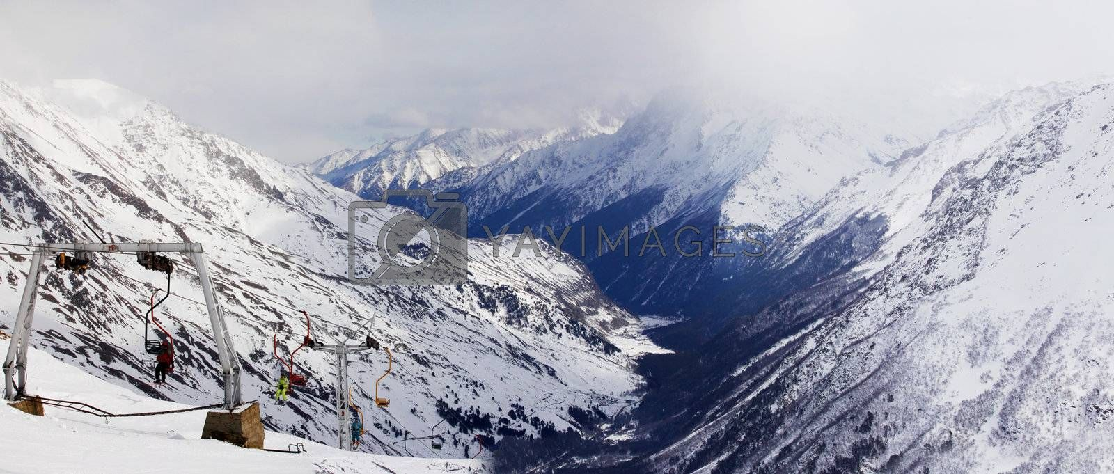 Russia. Caucasus. View on Elbrus Mount - the highest point of Europe from Cheget Mount