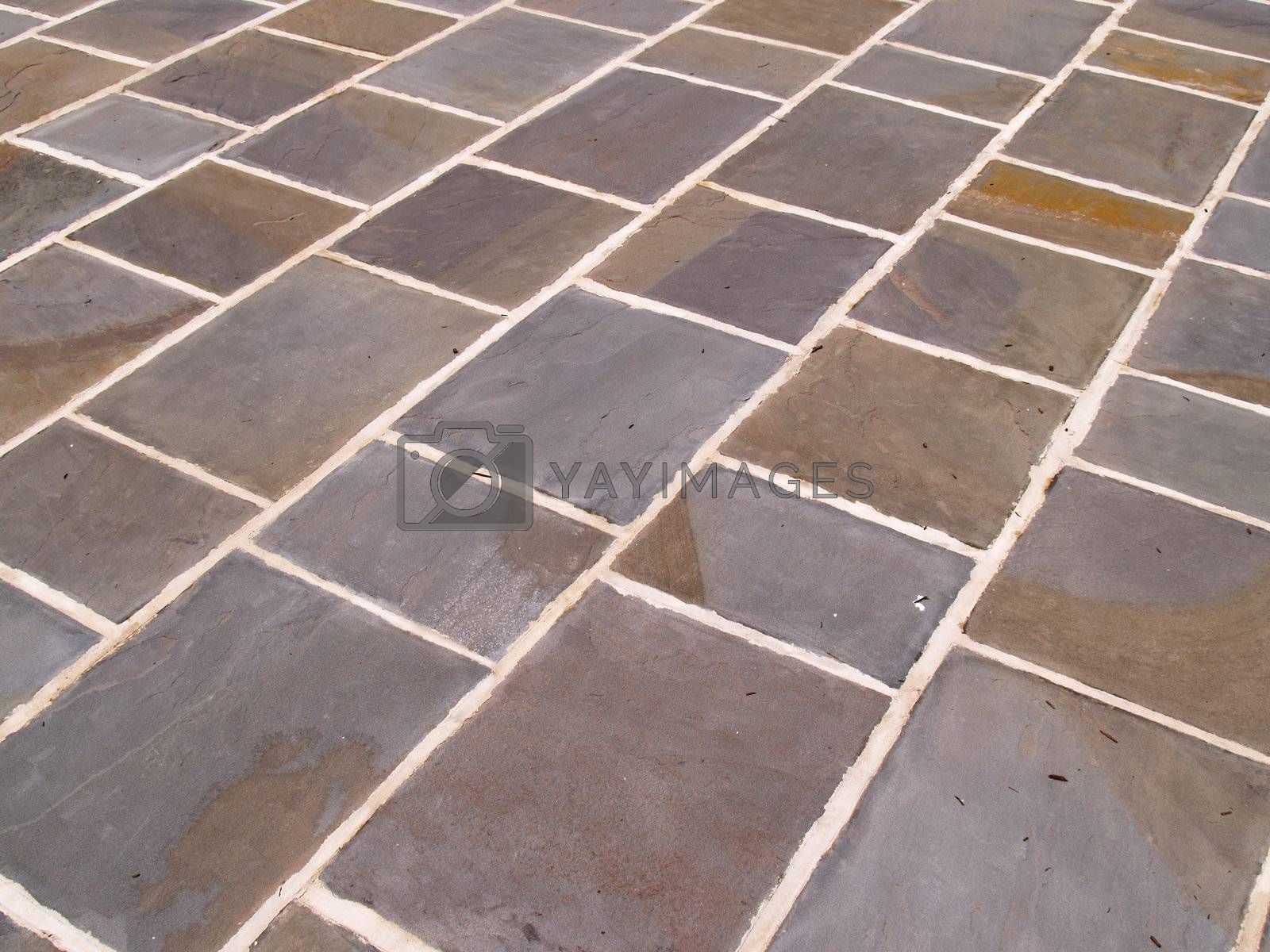 abstract view of an outdoor slate tile patio
