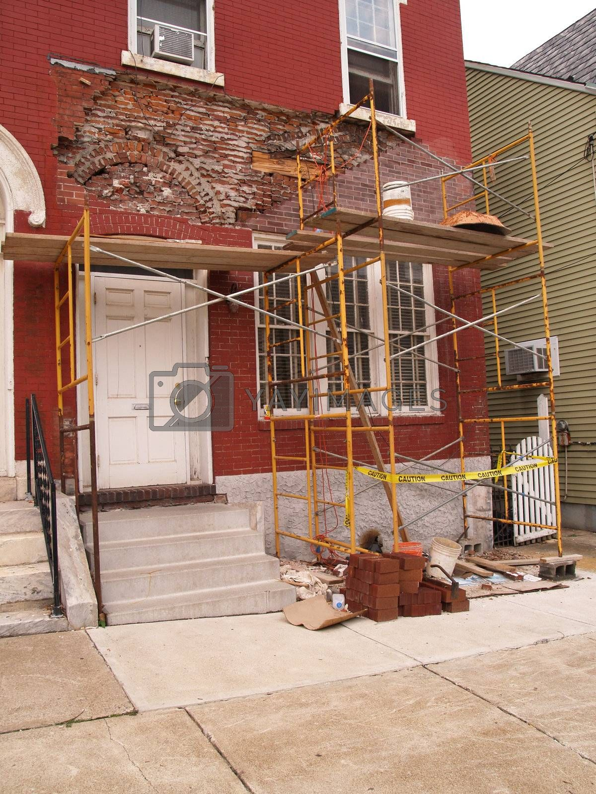 exterior of an old home being remodeled