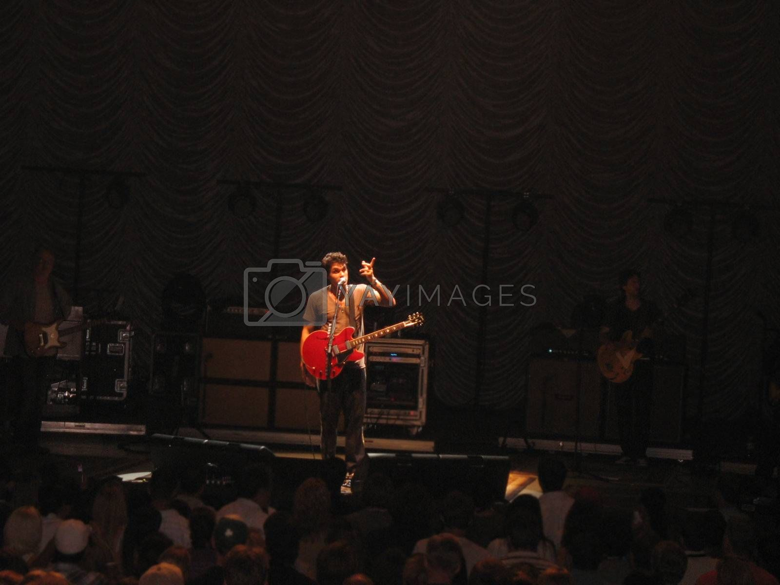 Singer slash song writer John Mayer performing in concert in Boston during the 2008 tour.