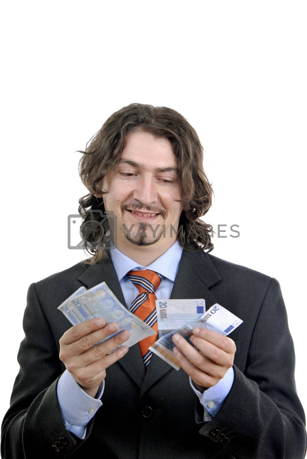 Business man holding money isolated on white