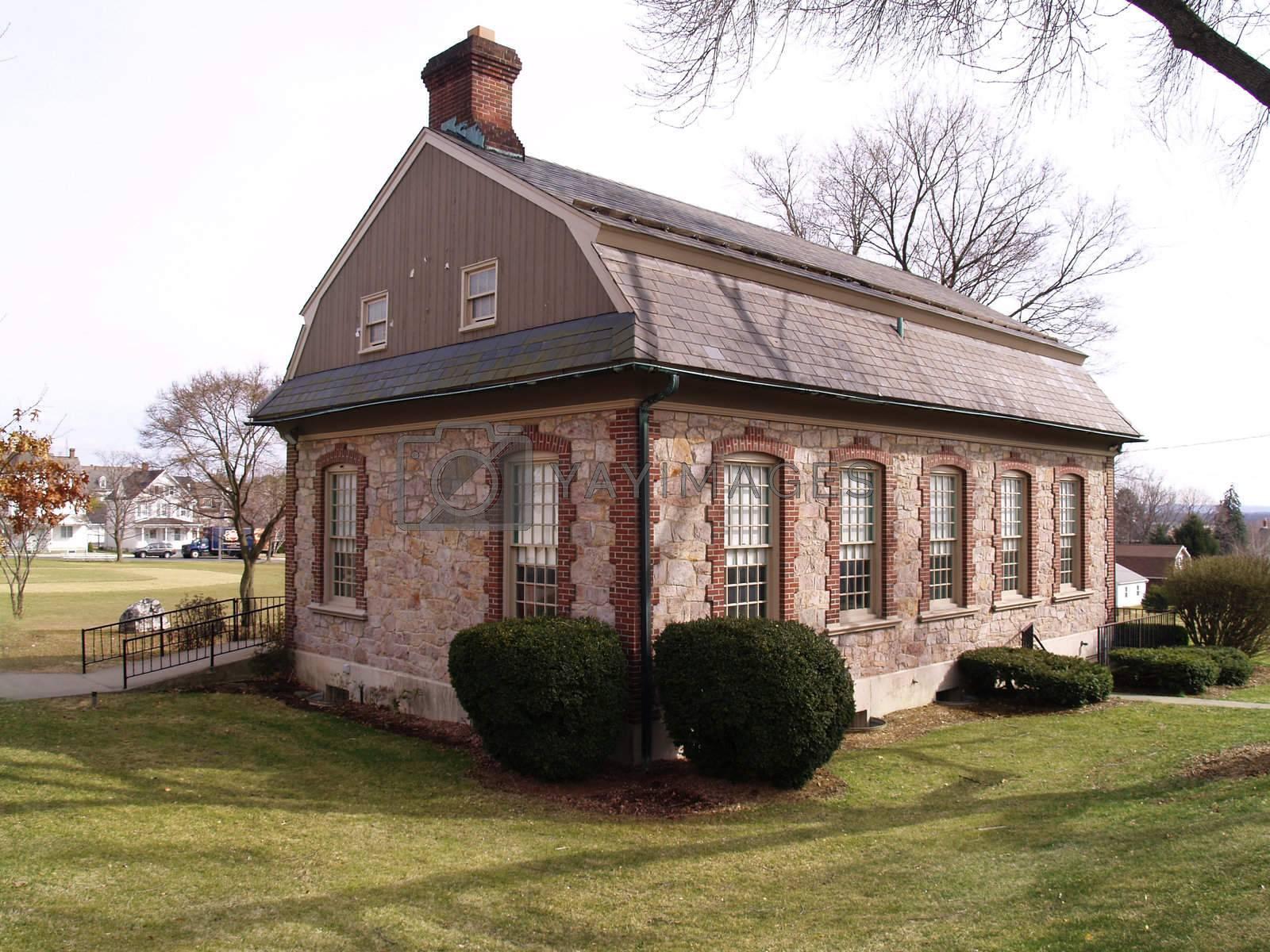 colonial style stone building in Nazareth, Pennsylvania