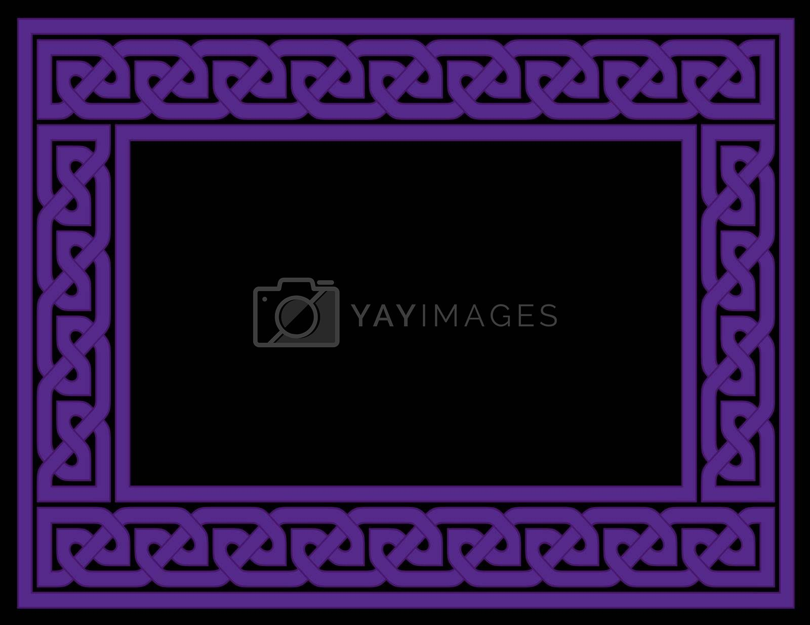 A Celtic knot frame in purple with black background, JPG version.