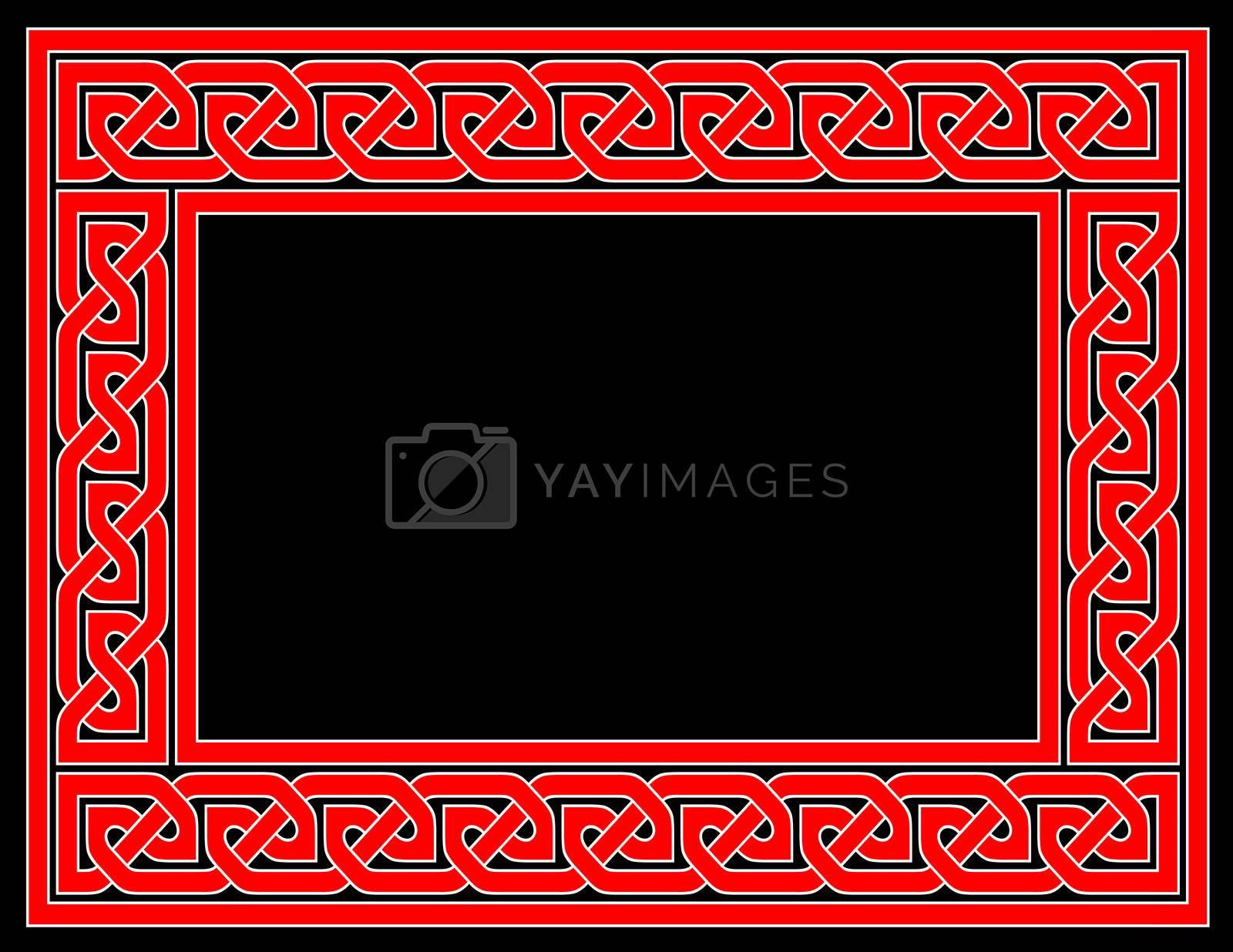 A red Celtic knot frame with black background, JPG version.