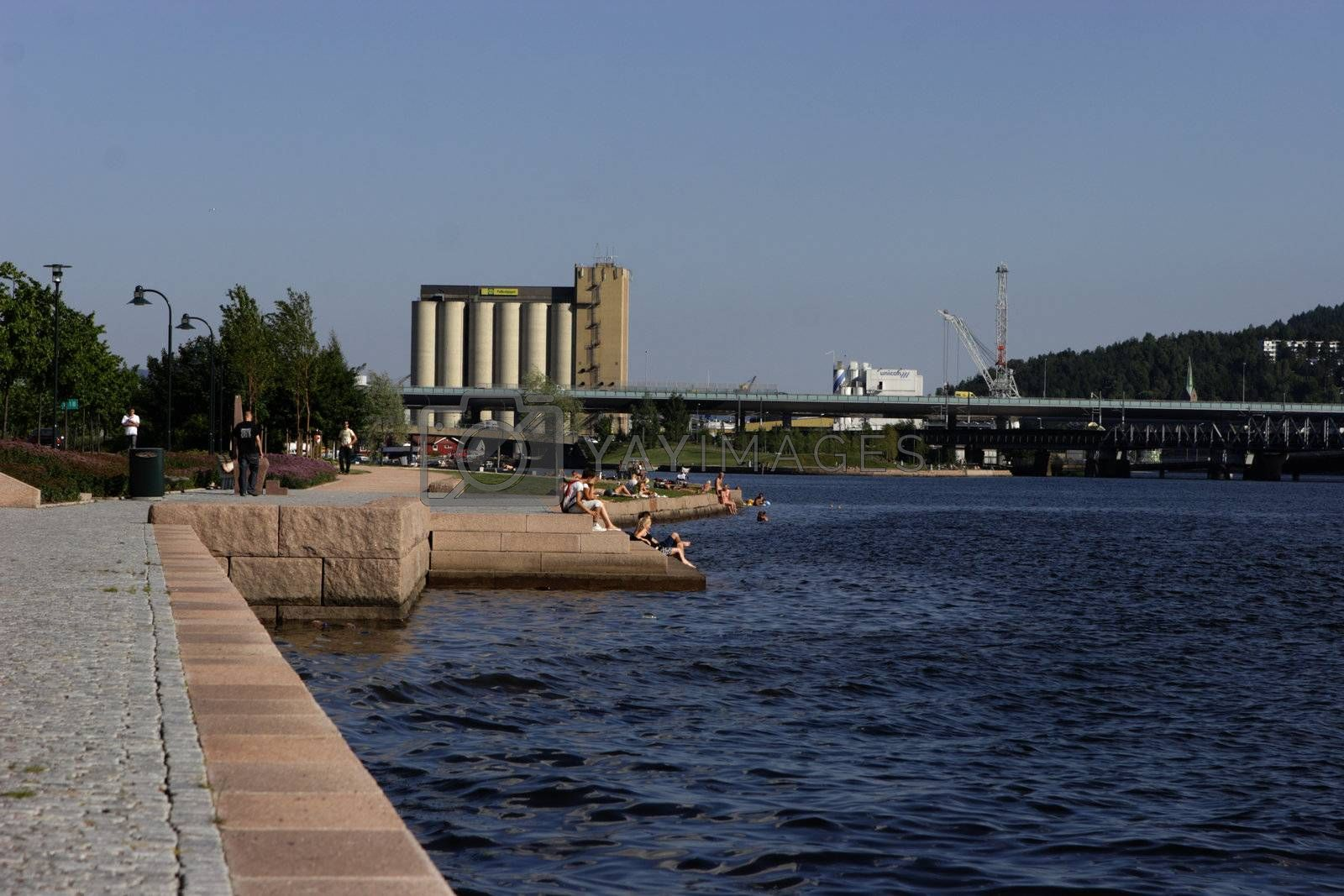 Summer at the waterfront in Drammen, Norway